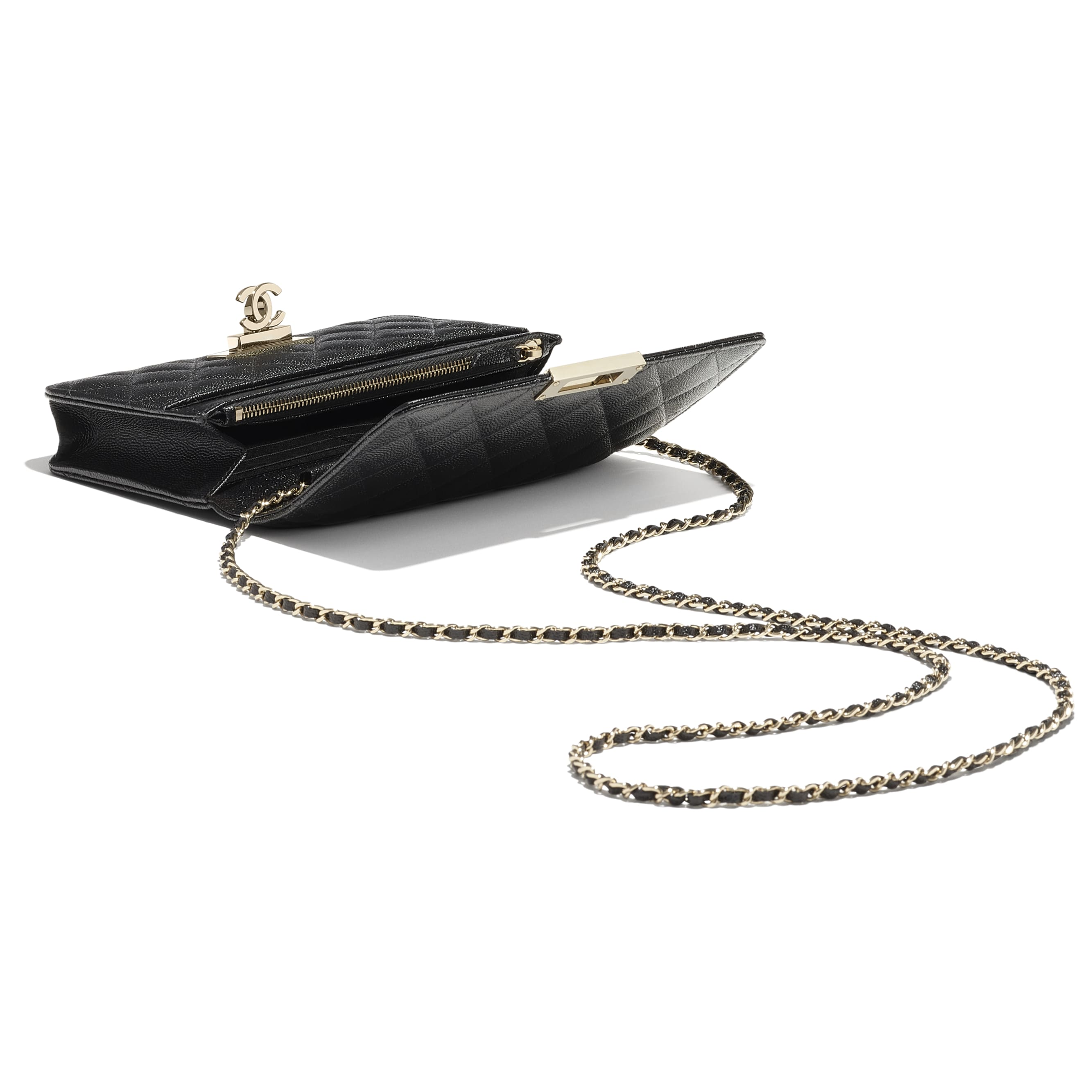 Wallet On Chain - Black - Grained Goatskin & Gold Metal - CHANEL - Other view - see standard sized version