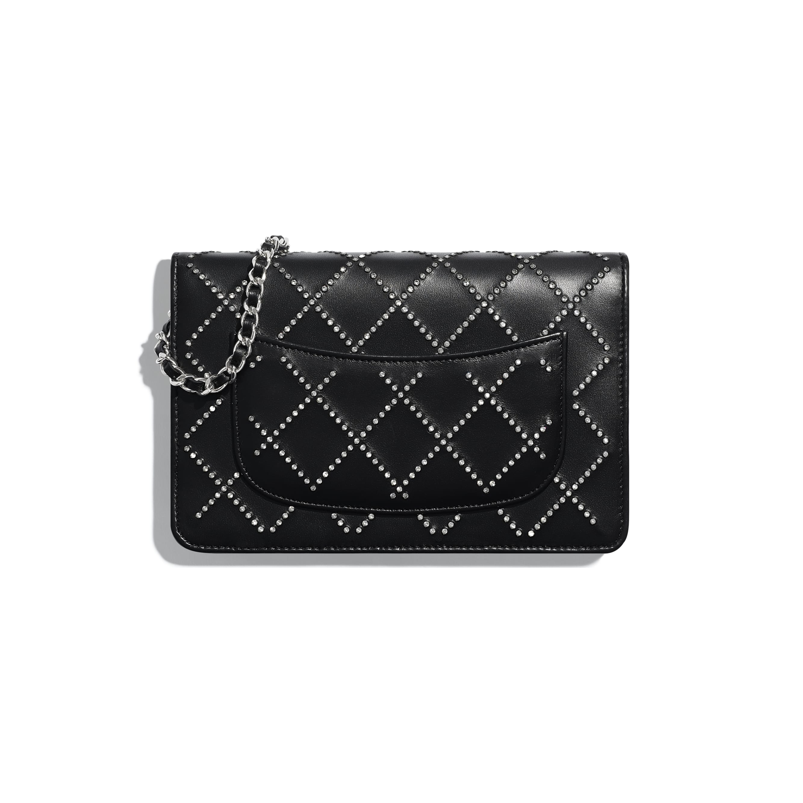 Wallet On Chain - Black - Iridescent Lambskin, Strass & Silver-Tone Metal - Alternative view - see standard sized version