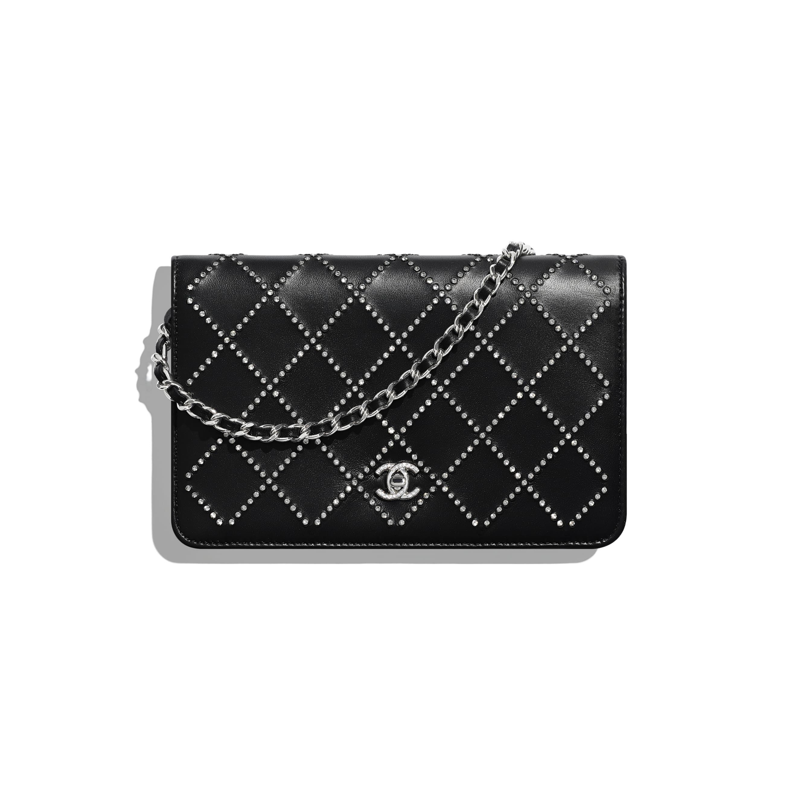 Wallet On Chain - Black - Iridescent Lambskin, Strass & Silver-Tone Metal - Default view - see standard sized version