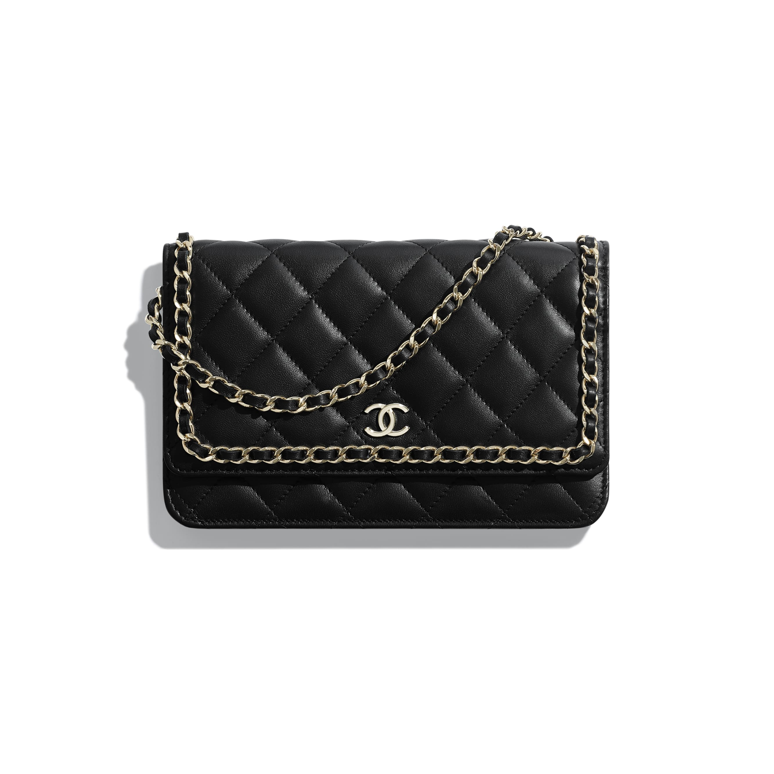 Wallet on Chain - Black - Lambskin, Chains & Gold-Tone Metal - Default view - see standard sized version