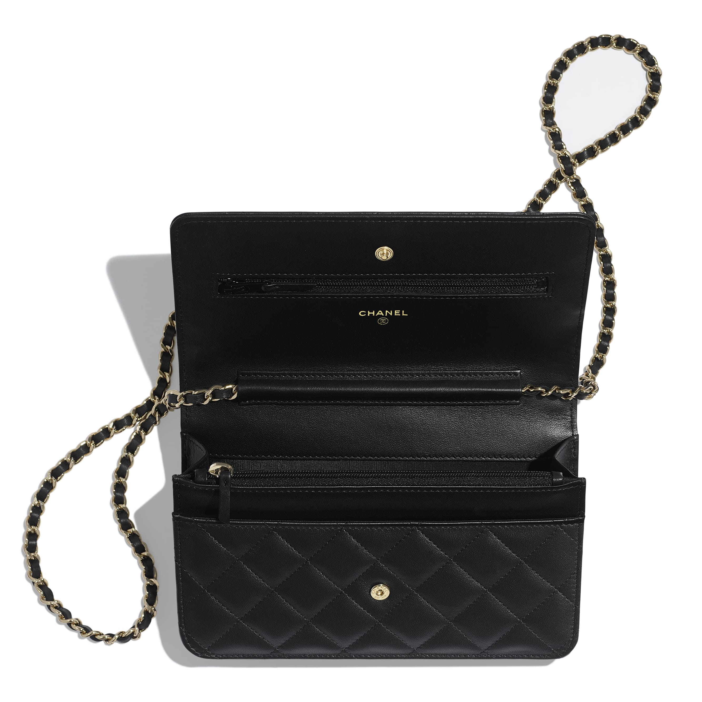 Wallet on Chain - Black - Lambskin, Chains & Gold-Tone Metal - Other view - see standard sized version