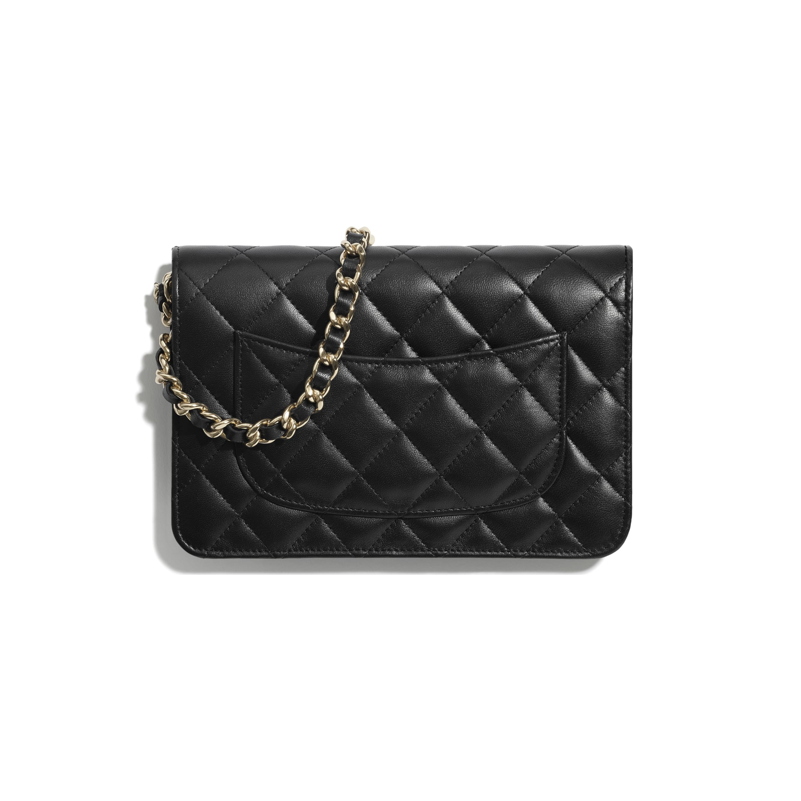 Wallet On Chain - Black - Lambskin, Charms & Gold-Tone Metal - CHANEL - Alternative view - see standard sized version