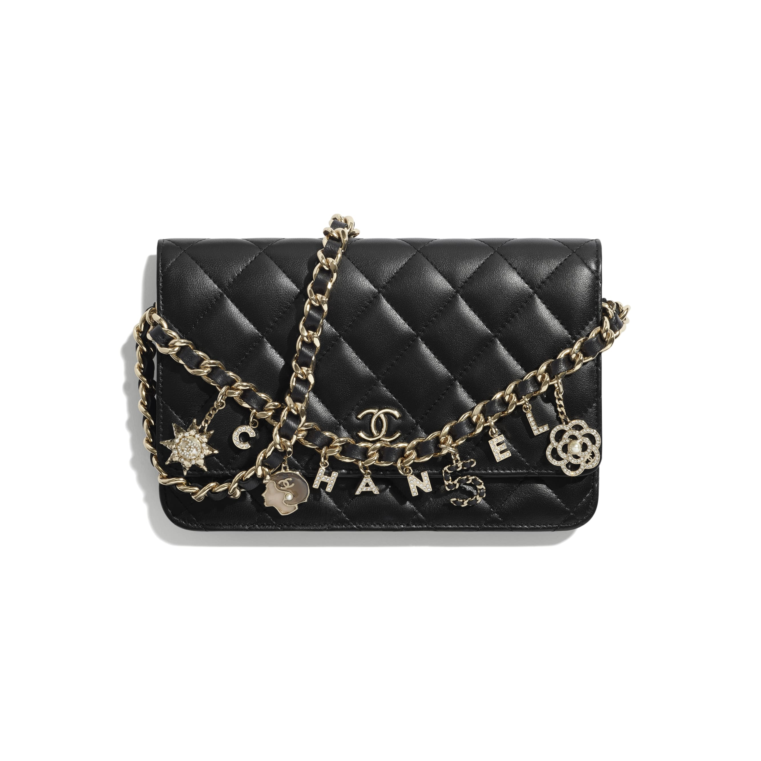 Wallet On Chain - Black - Lambskin, Charms & Gold-Tone Metal - CHANEL - Default view - see standard sized version