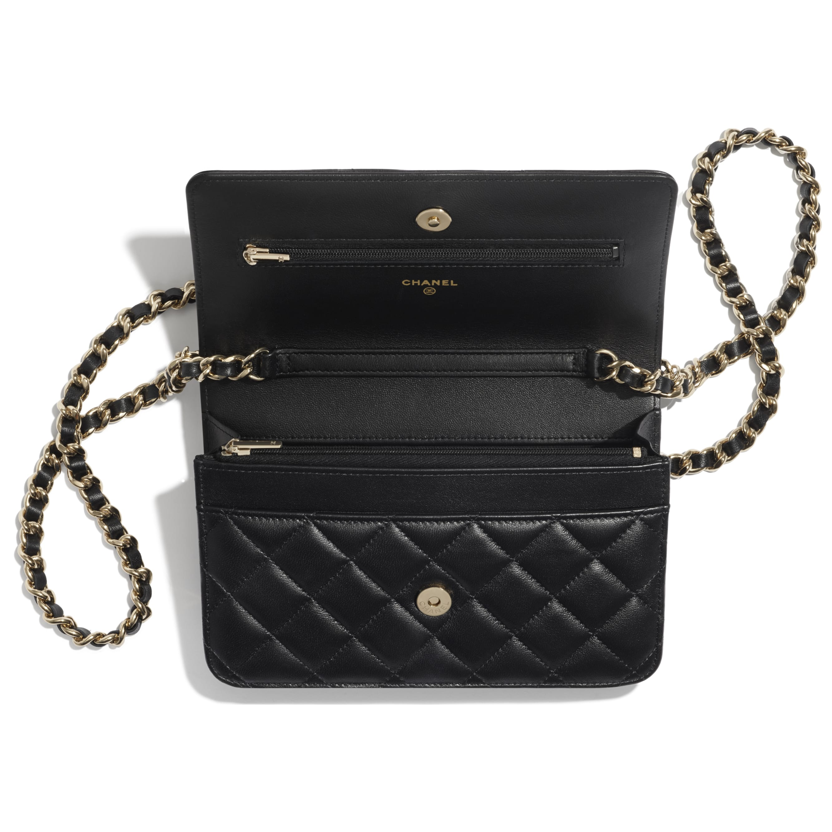 Wallet On Chain - Black - Lambskin, Charms & Gold-Tone Metal - CHANEL - Other view - see standard sized version