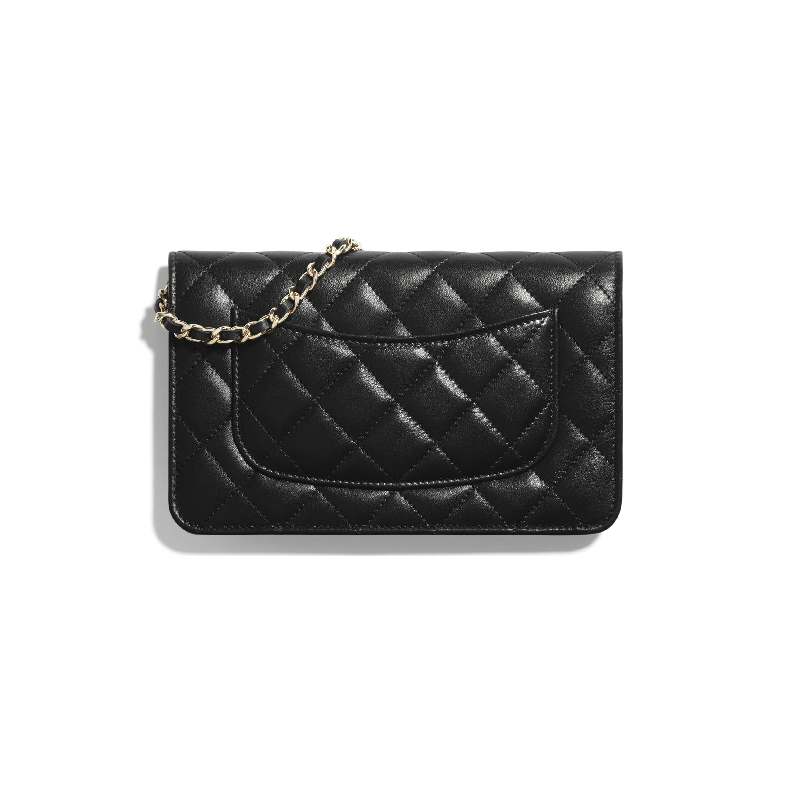 Wallet On Chain - Black - Lambskin & Gold Metal  - CHANEL - Alternative view - see standard sized version