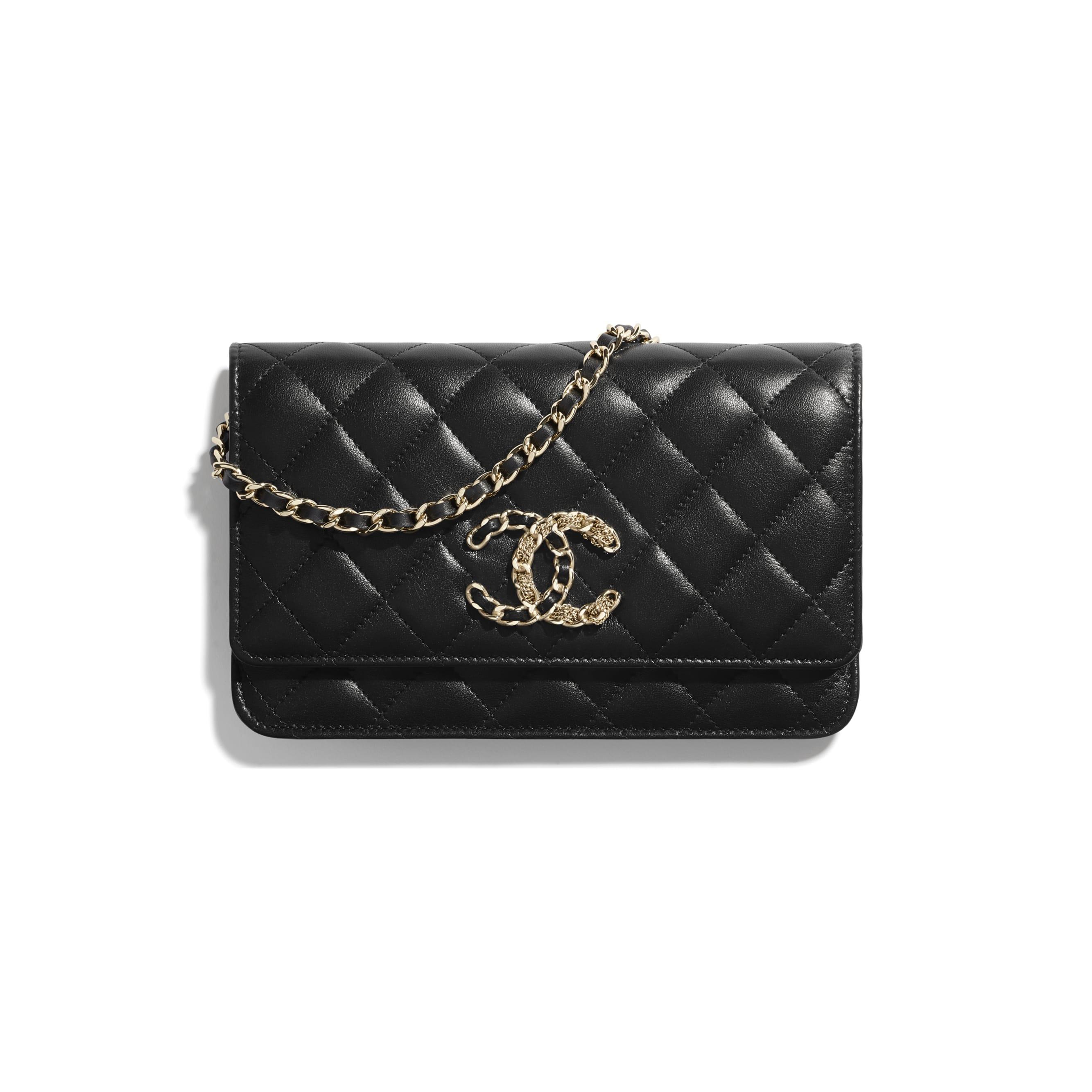 Wallet On Chain - Black - Lambskin & Gold Metal  - CHANEL - Default view - see standard sized version