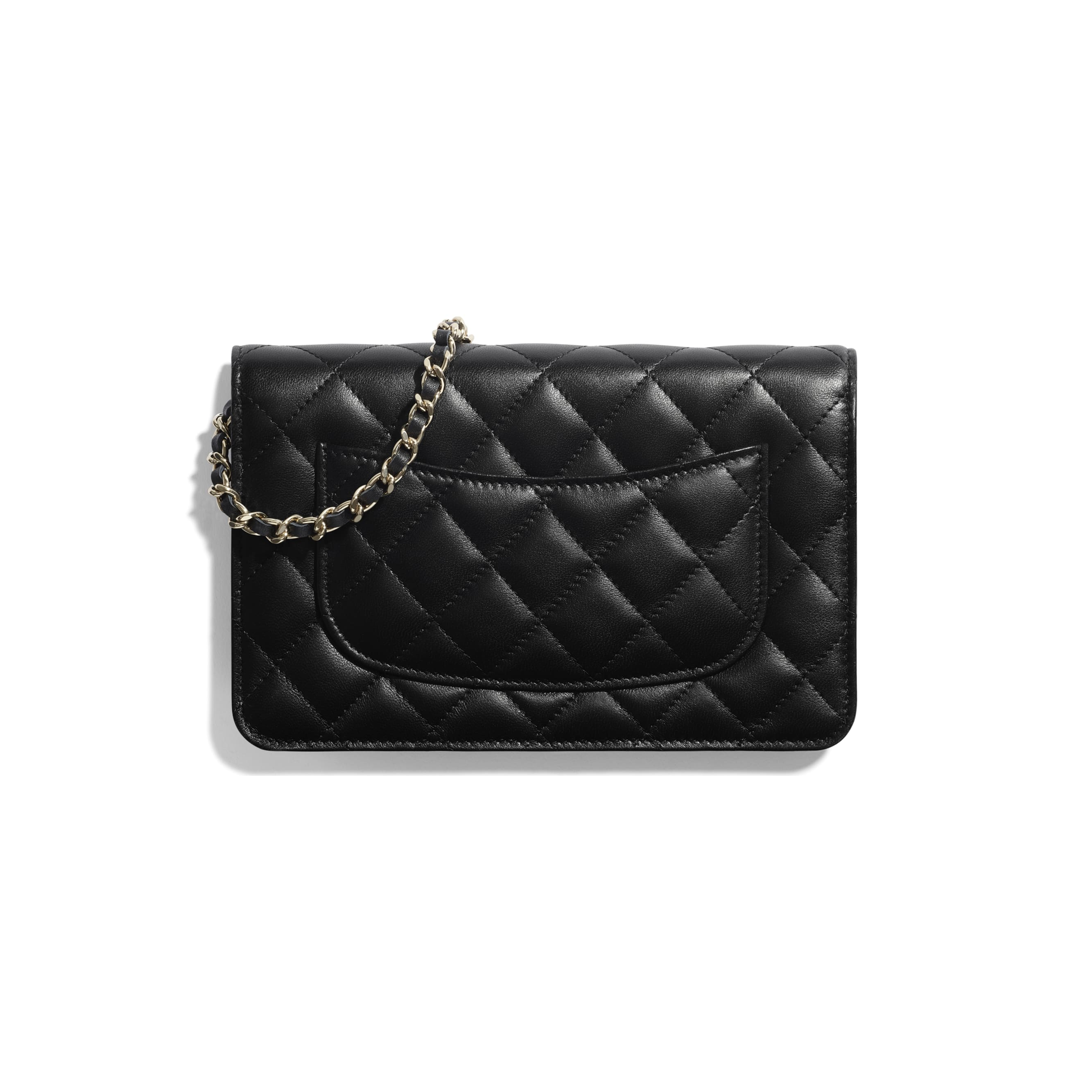 Wallet on Chain - Black - Lambskin & Gold-Tone Metal - CHANEL - Alternative view - see standard sized version