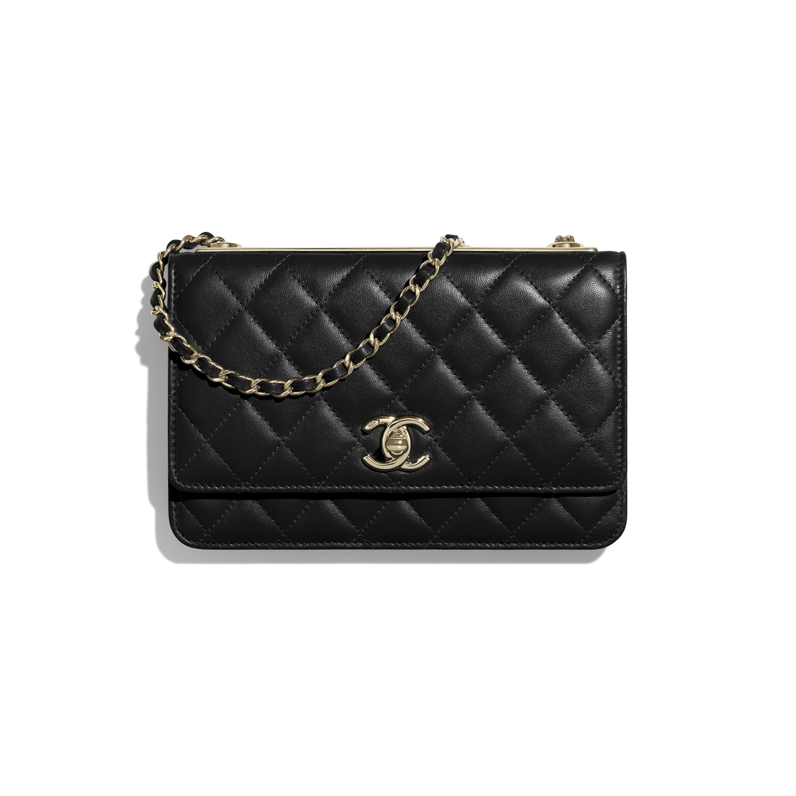 Wallet on Chain - Black - Lambskin & Gold-Tone Metal - Default view - see standard sized version
