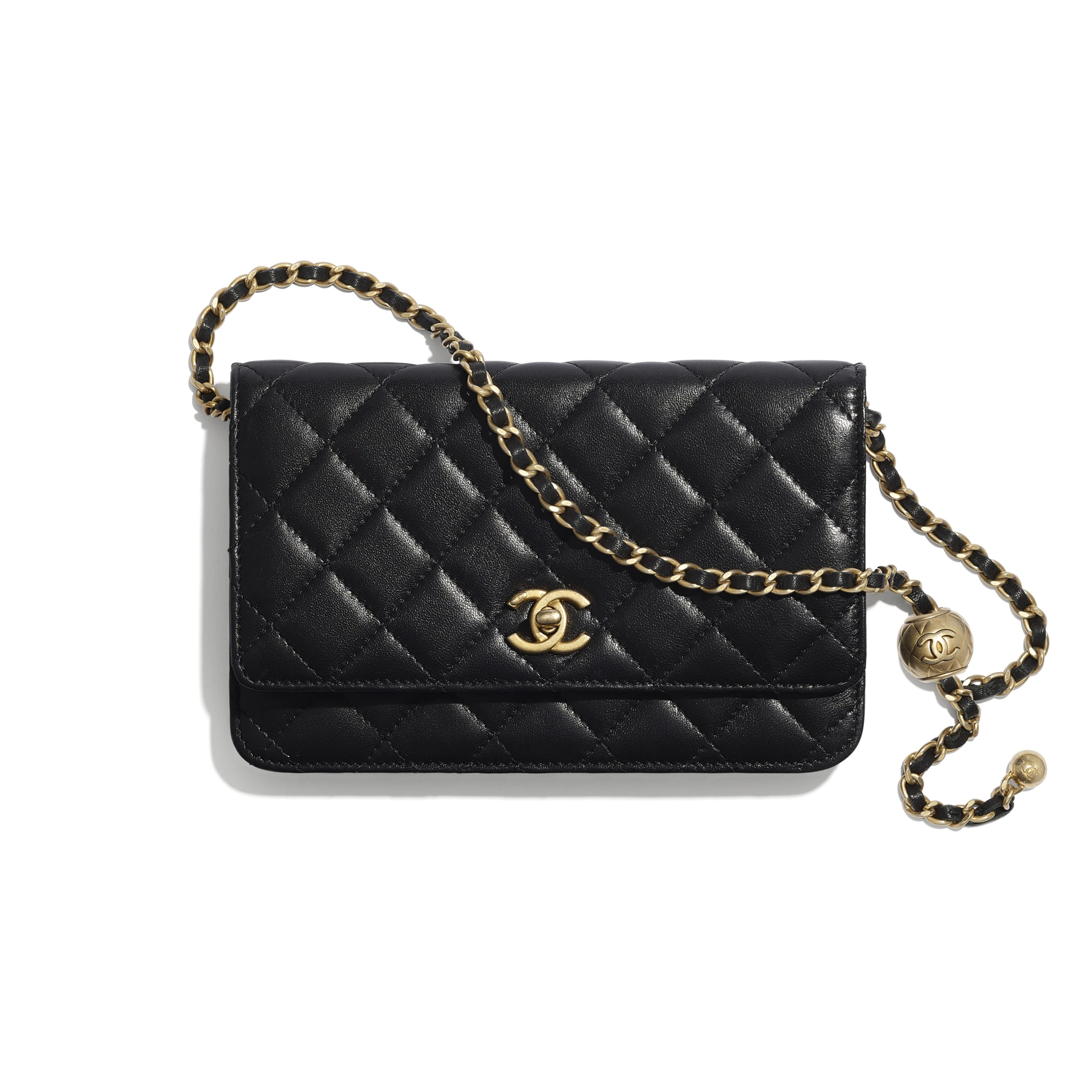 Wallet On Chain - Black - Lambskin - CHANEL - Default view - see standard sized version