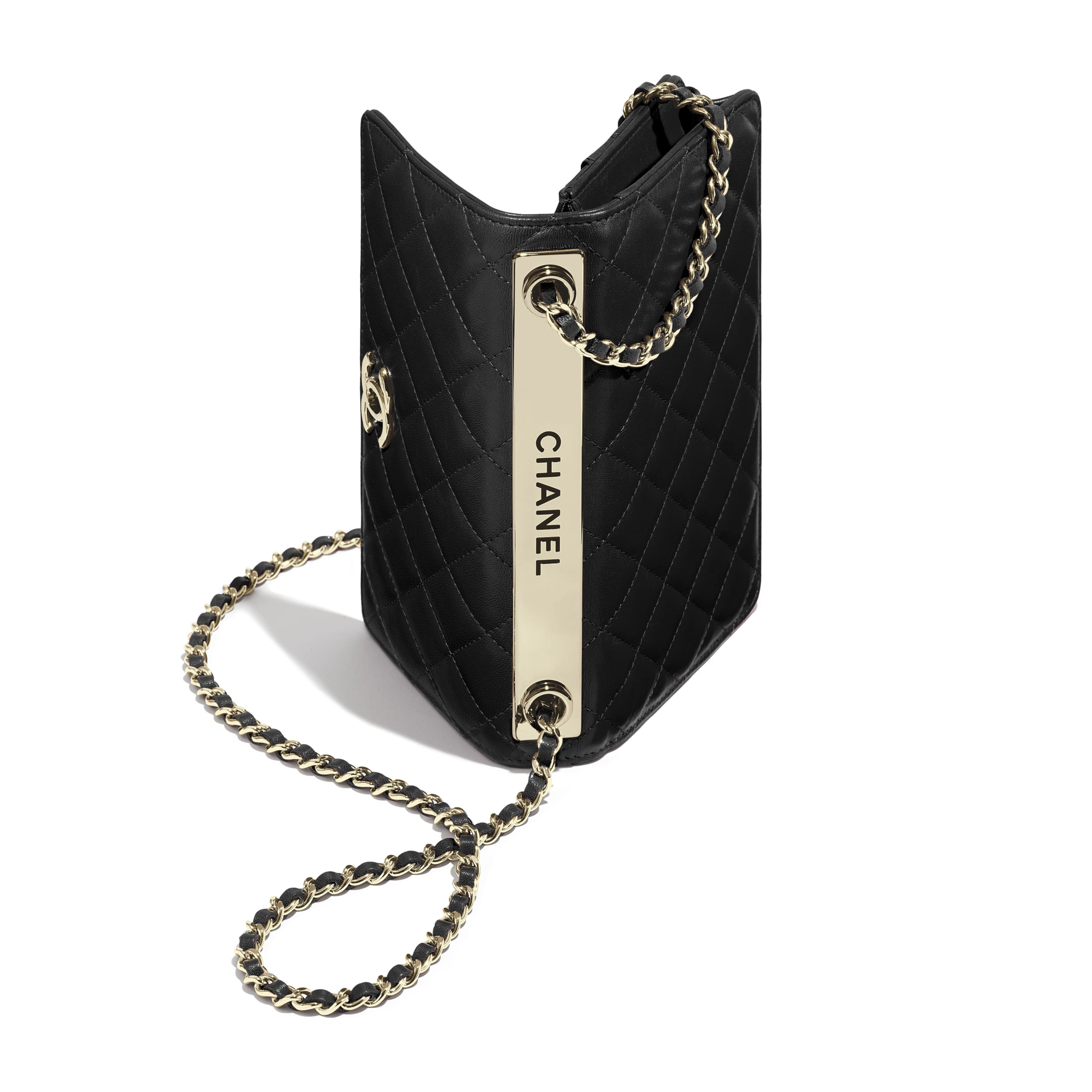 Wallet On Chain - Black - Lambskin - Extra view - see standard sized version