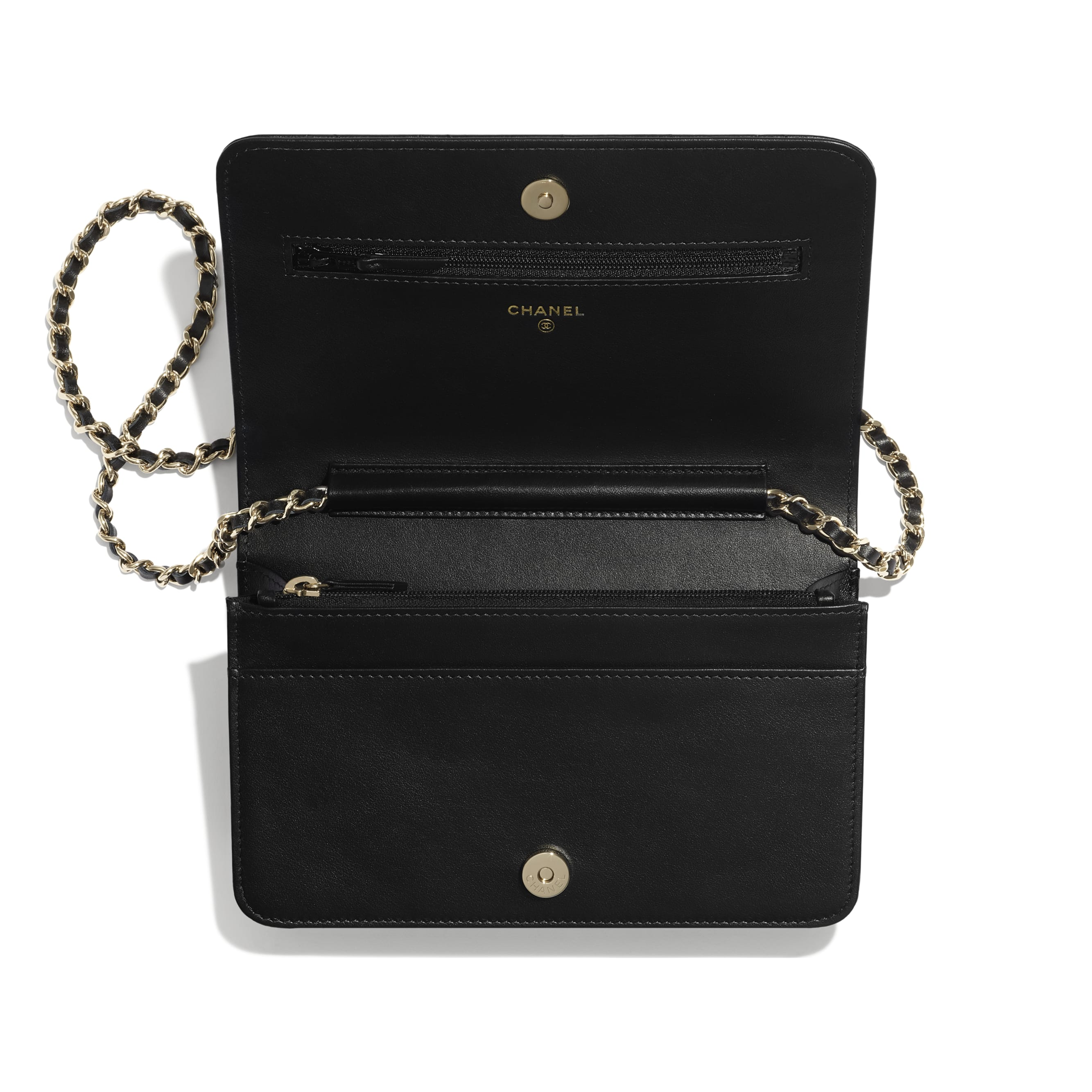 Wallet On Chain - Black - Lambskin - CHANEL - Other view - see standard sized version