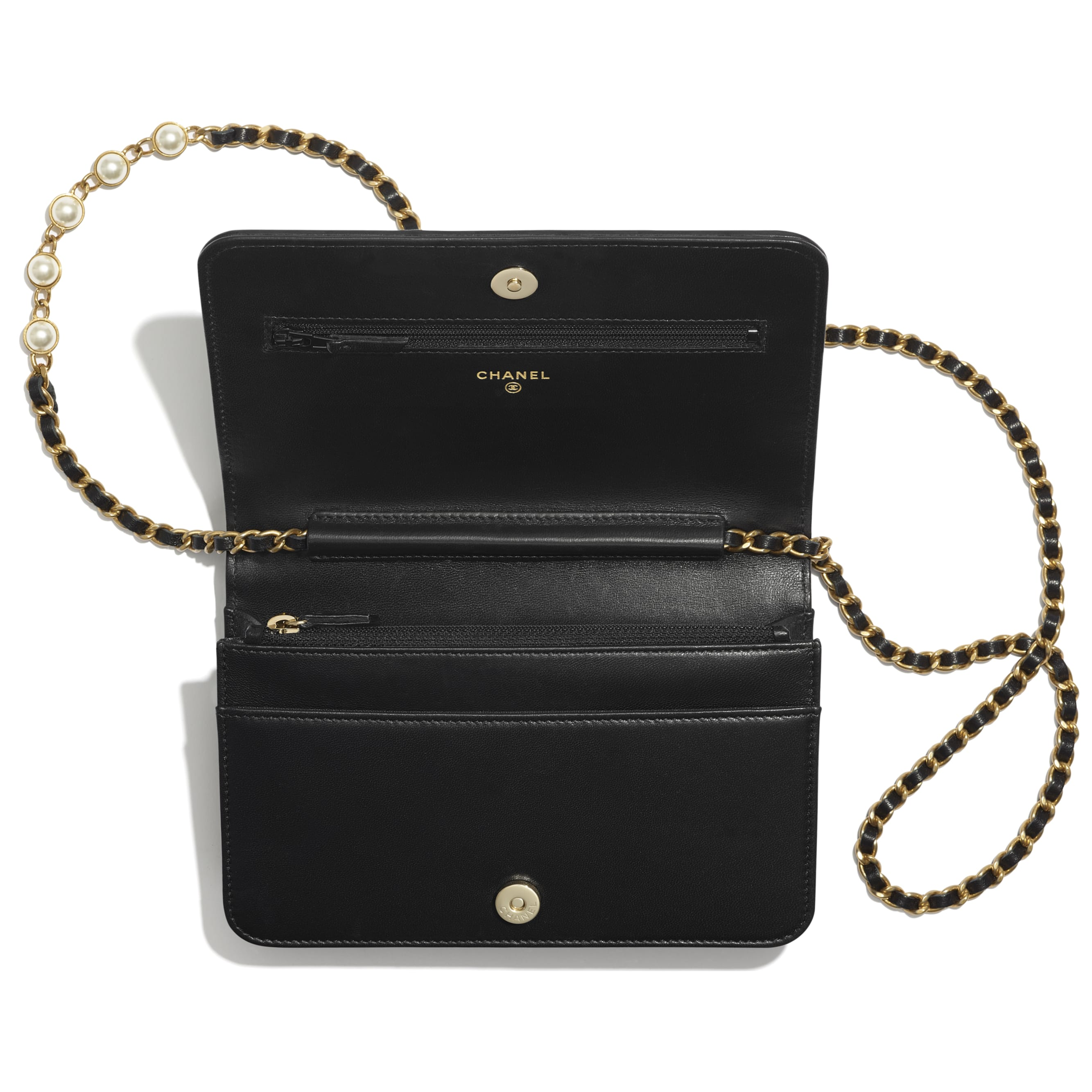 Wallet on Chain - Black - Lambskin, Imitation Pearls & Gold-Tone Metal - CHANEL - Other view - see standard sized version