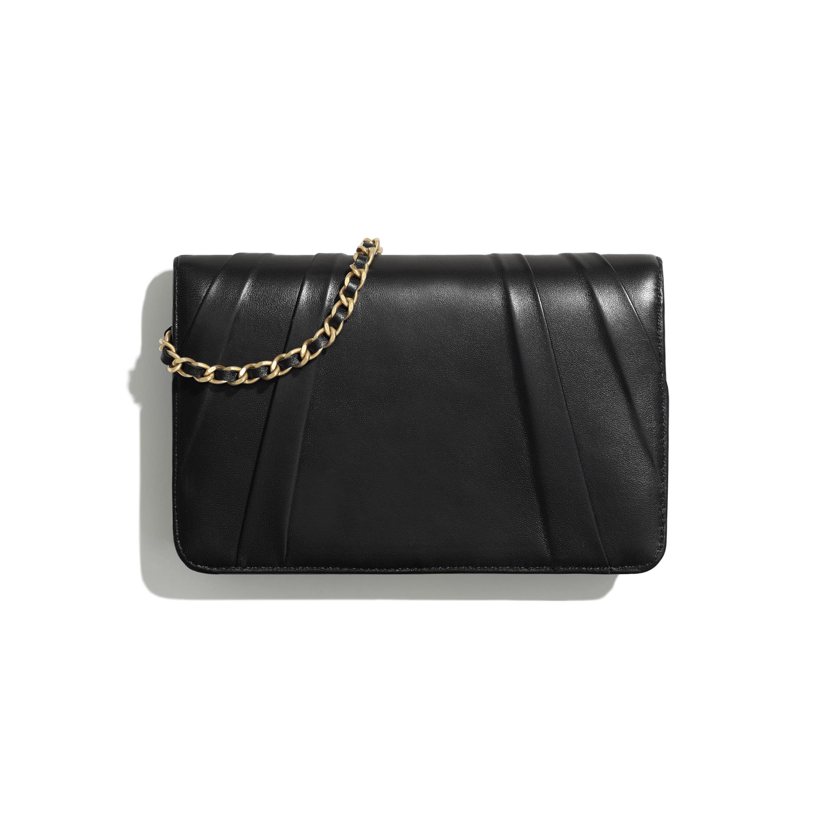 Wallet on Chain - Black - Pleated Lambskin & Gold-Tone Metal - Alternative view - see standard sized version
