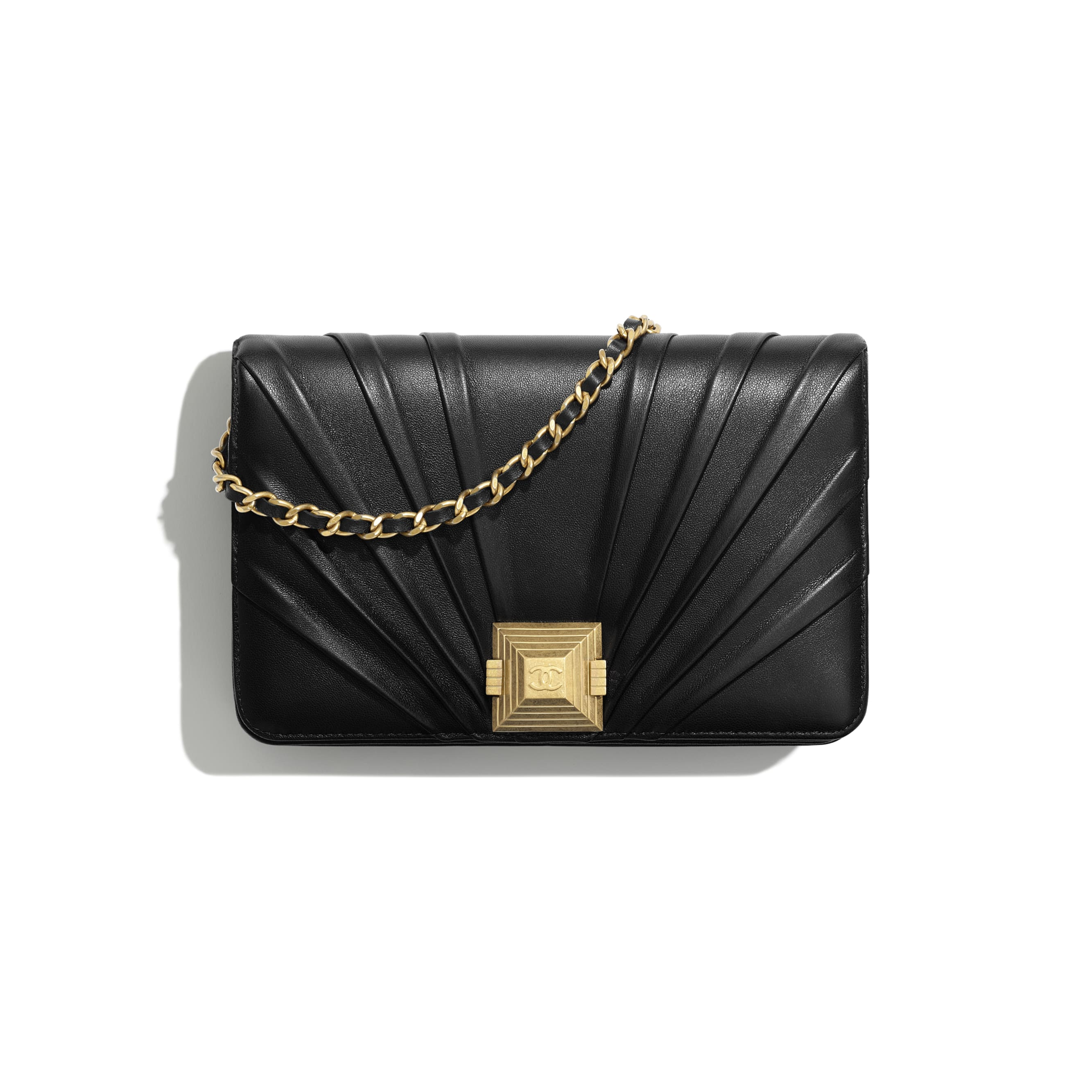 Wallet on Chain - Black - Pleated Lambskin & Gold-Tone Metal - Default view - see standard sized version