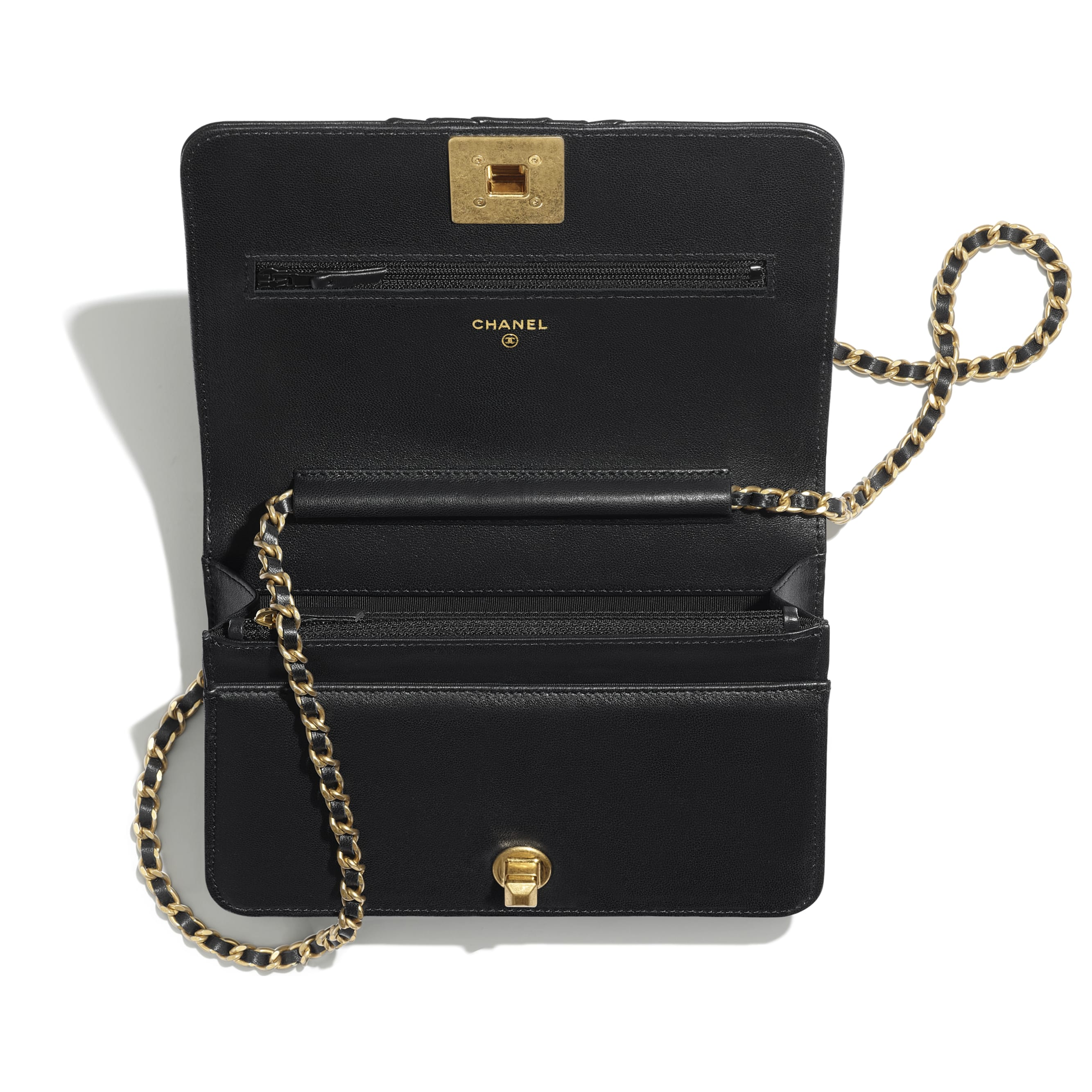 Wallet on Chain - Black - Pleated Lambskin & Gold-Tone Metal - Other view - see standard sized version