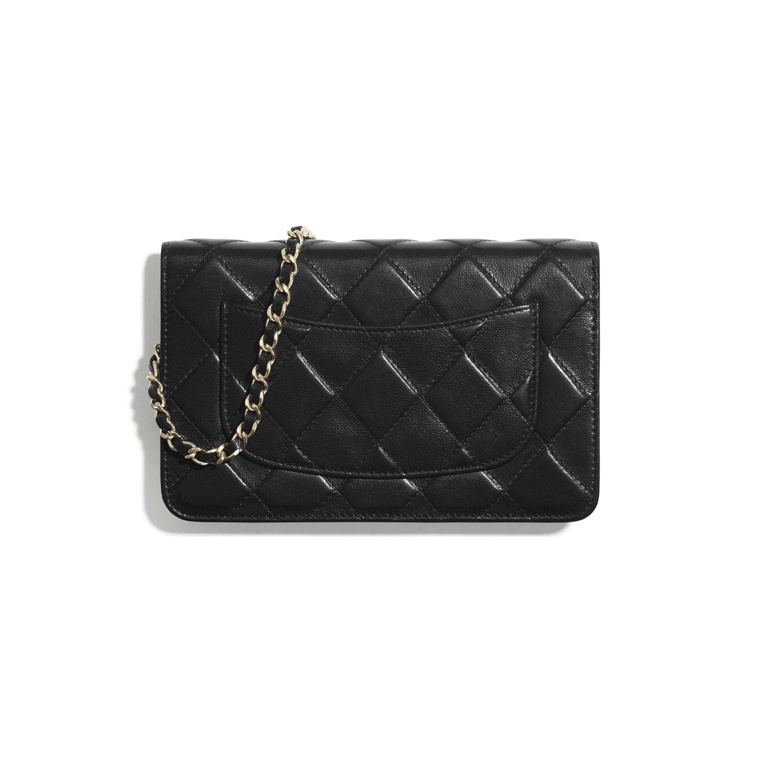 Wallet On Chain - Black - Shiny Crumpled Goatskin & Gold-Tone Metal - CHANEL - Alternative view - see standard sized version