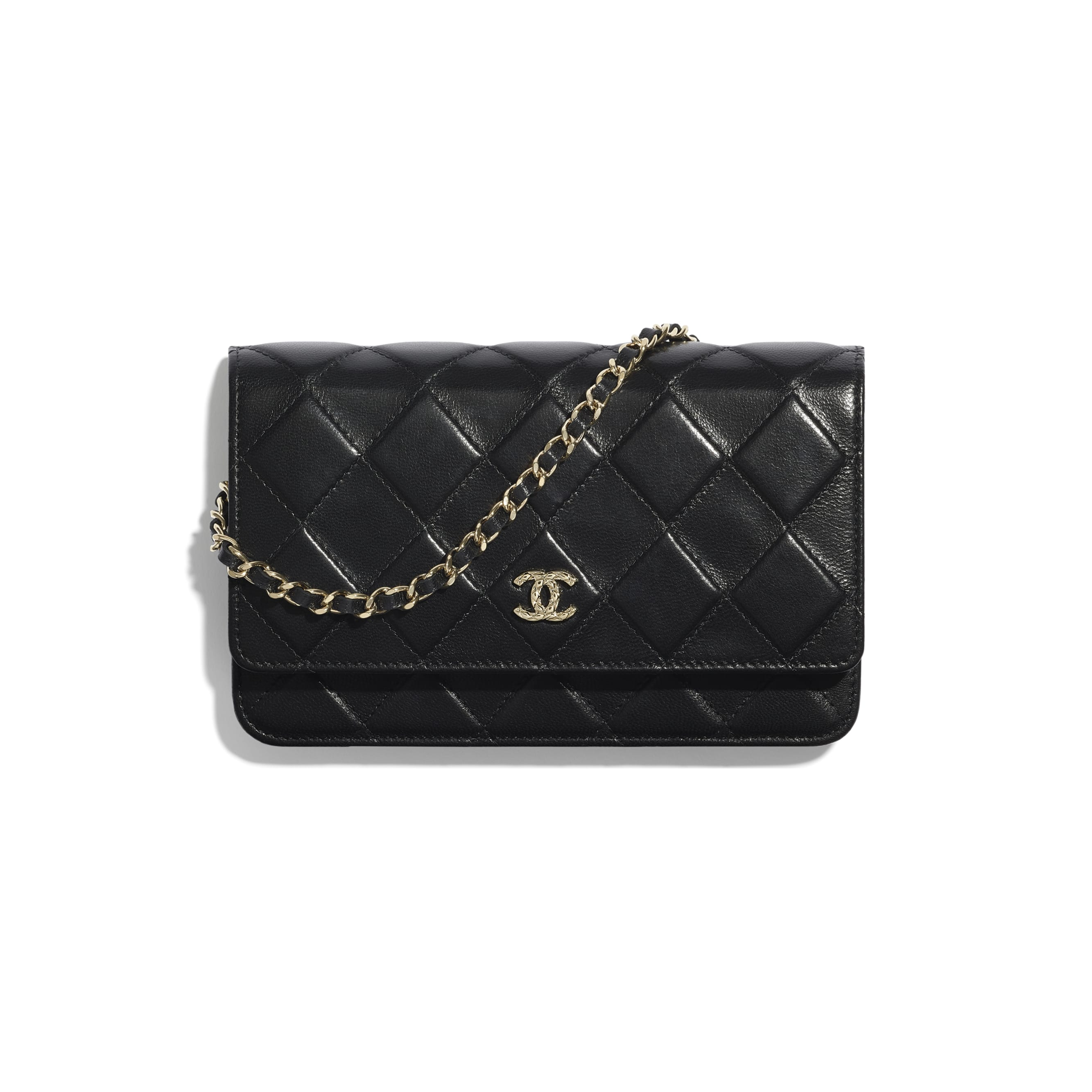 Wallet On Chain - Black - Shiny Crumpled Goatskin & Gold-Tone Metal - CHANEL - Default view - see standard sized version