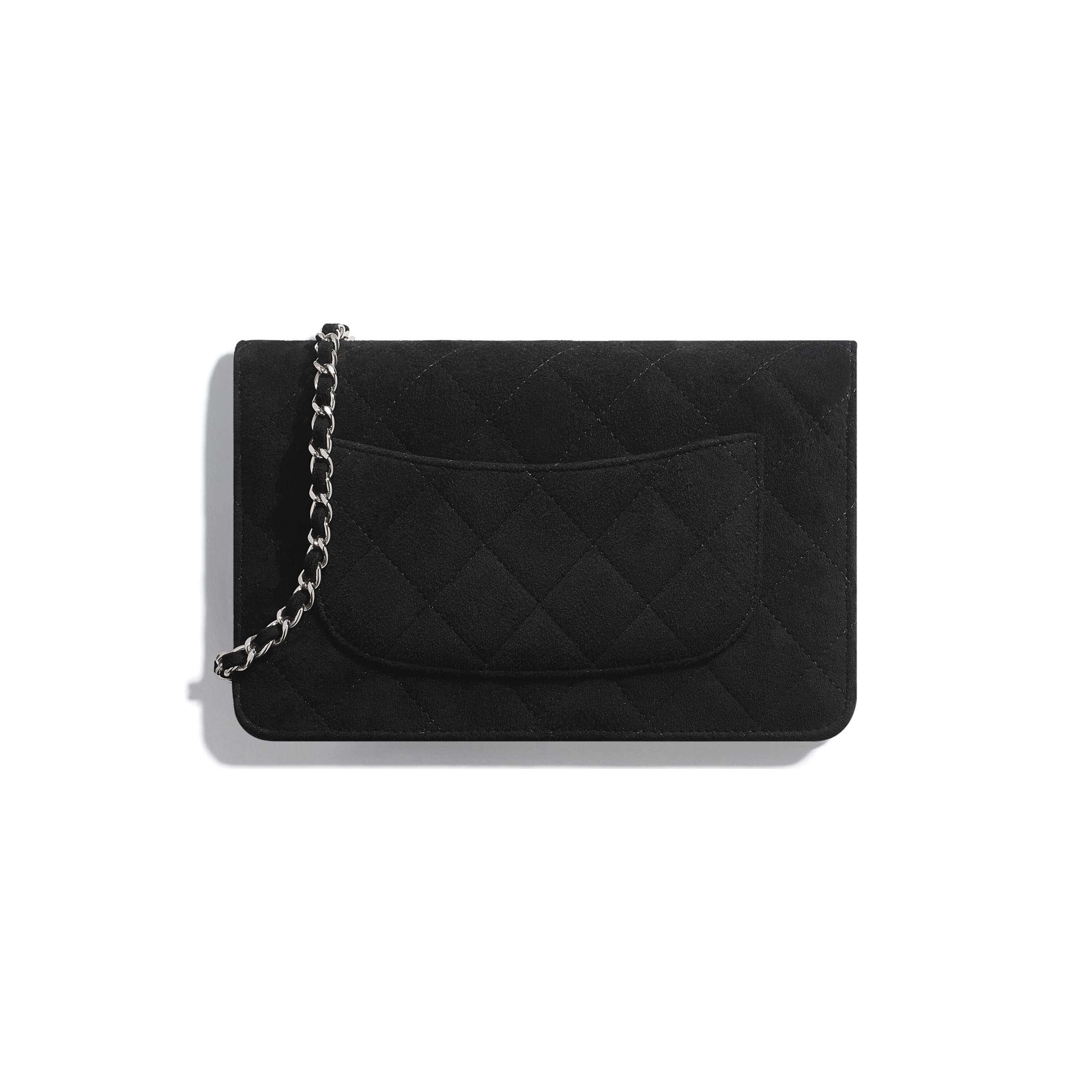 Wallet On Chain - Black - Suede Goatskin, Strass & Silver-Tone Metal - Alternative view - see standard sized version