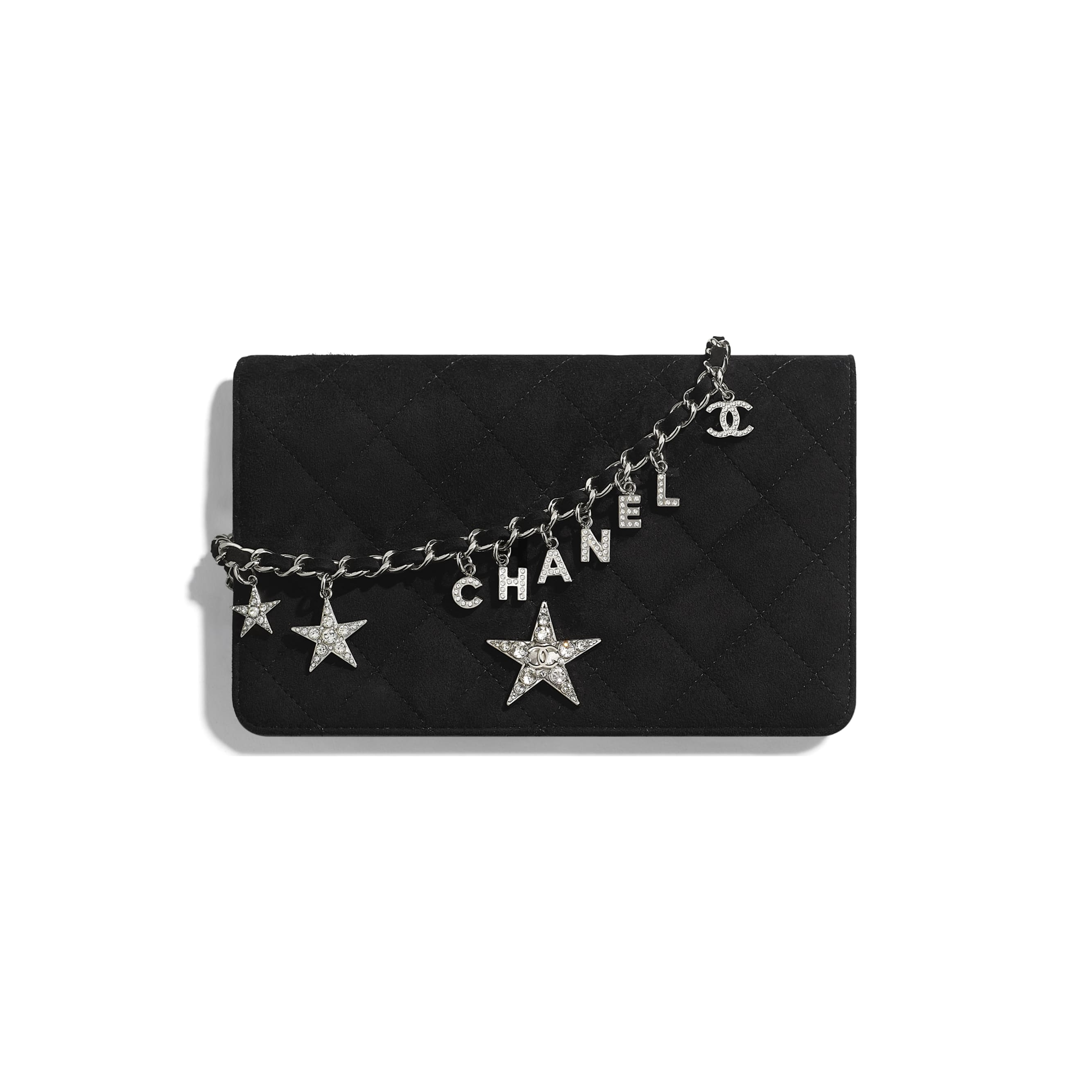 Wallet On Chain - Black - Suede Goatskin, Strass & Silver-Tone Metal - Default view - see standard sized version