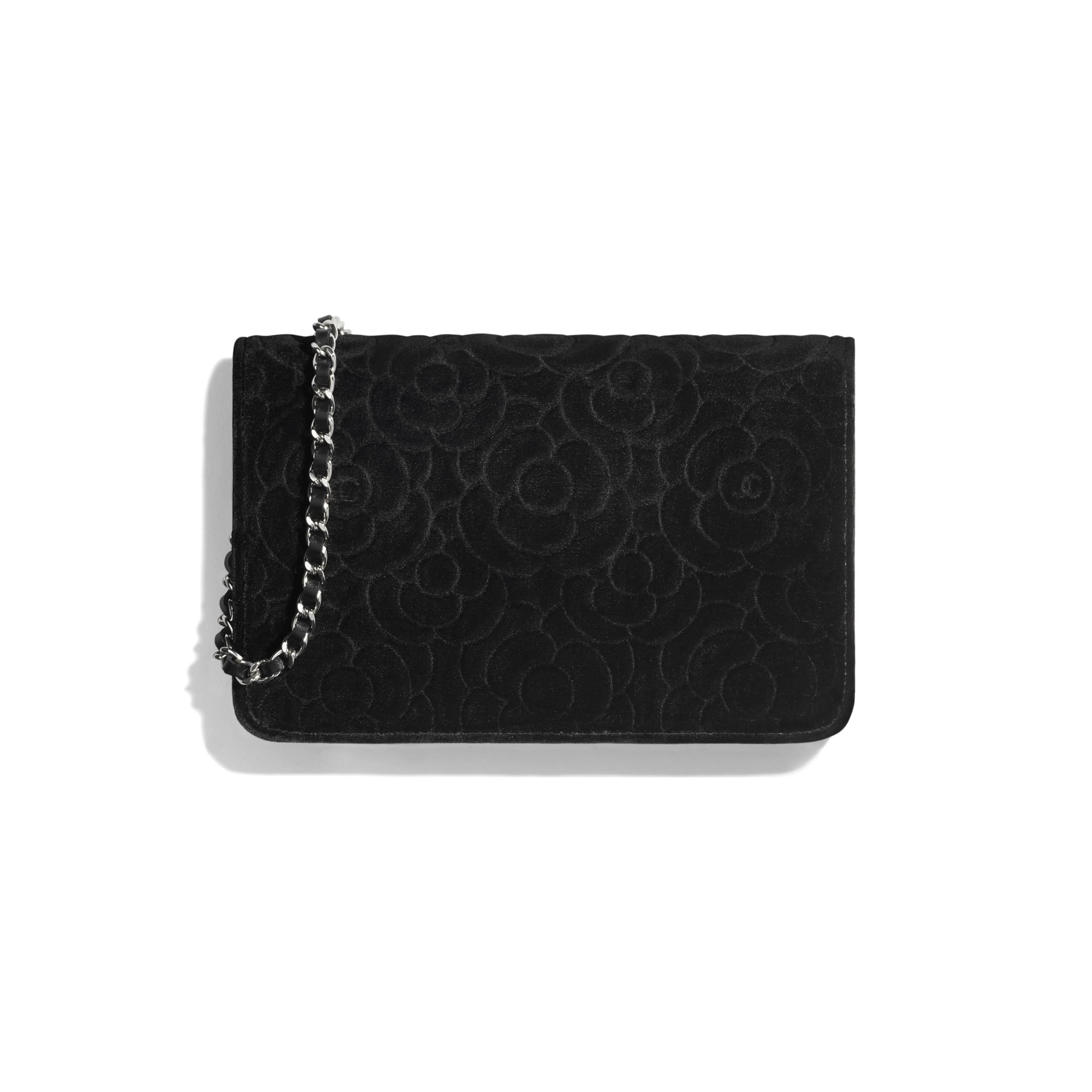 Torebka portfelowa z łańcuchem  - Kolor czarny - Aksamit i metal w tonacji srebrnej - CHANEL - Widok alternatywny – zobacz w standardowym rozmiarze