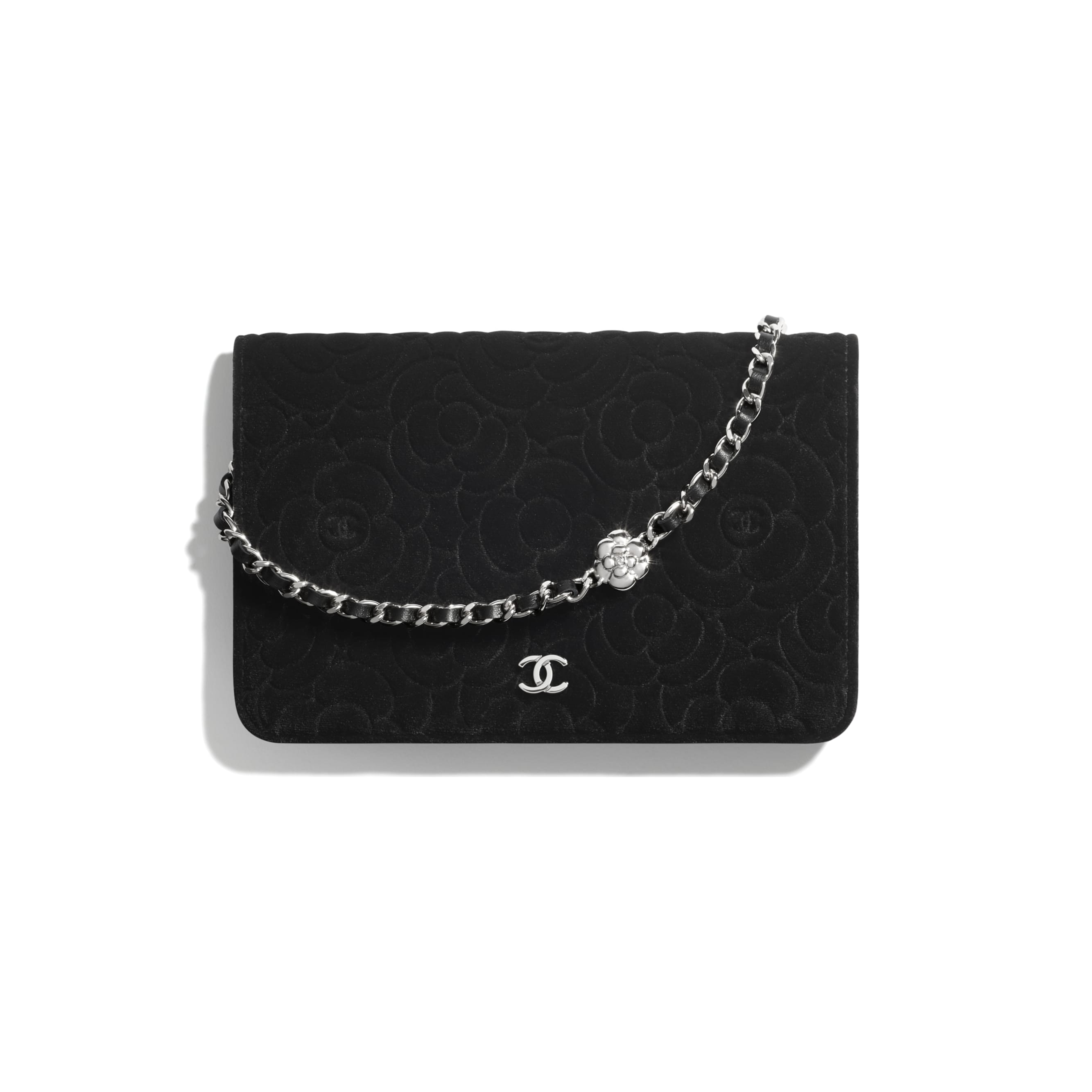 Wallet On Chain - Black - Velvet & Silver-Tone Metal - CHANEL - Default view - see standard sized version