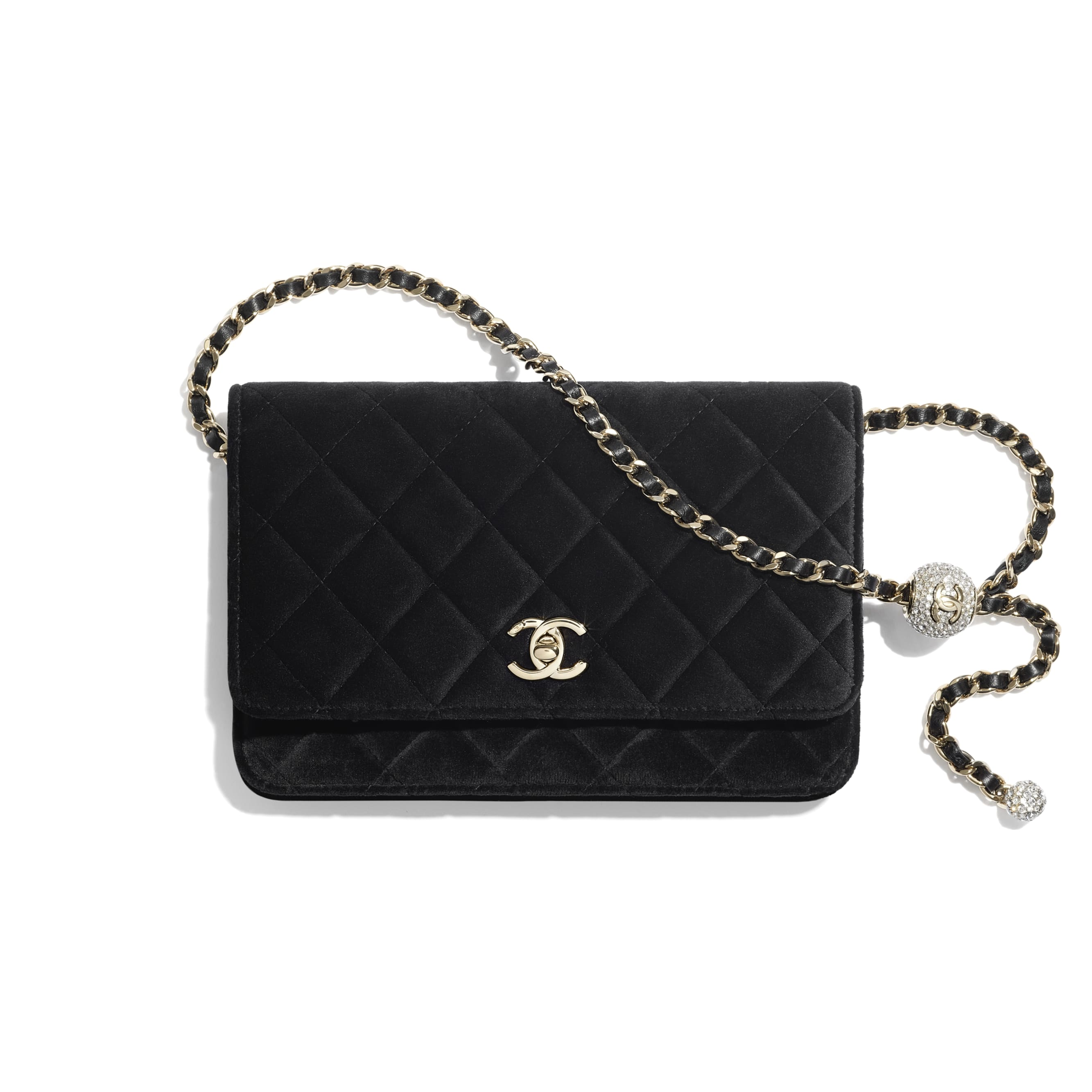 Wallet on Chain - Black - Velvet, Strass & Gold-Tone Metal - CHANEL - Default view - see standard sized version