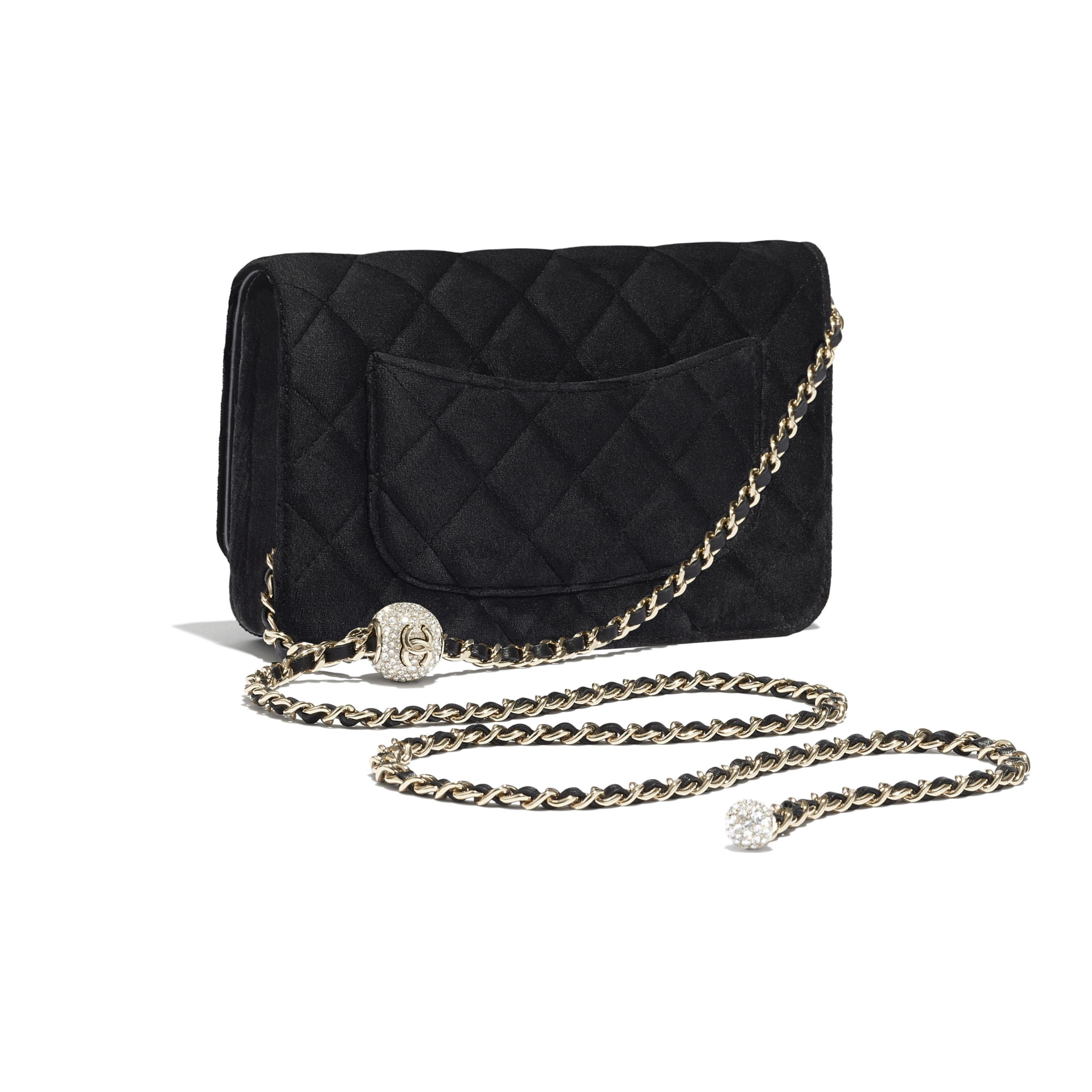 Wallet on Chain - Black - Velvet, Strass & Gold-Tone Metal - CHANEL - Extra view - see standard sized version