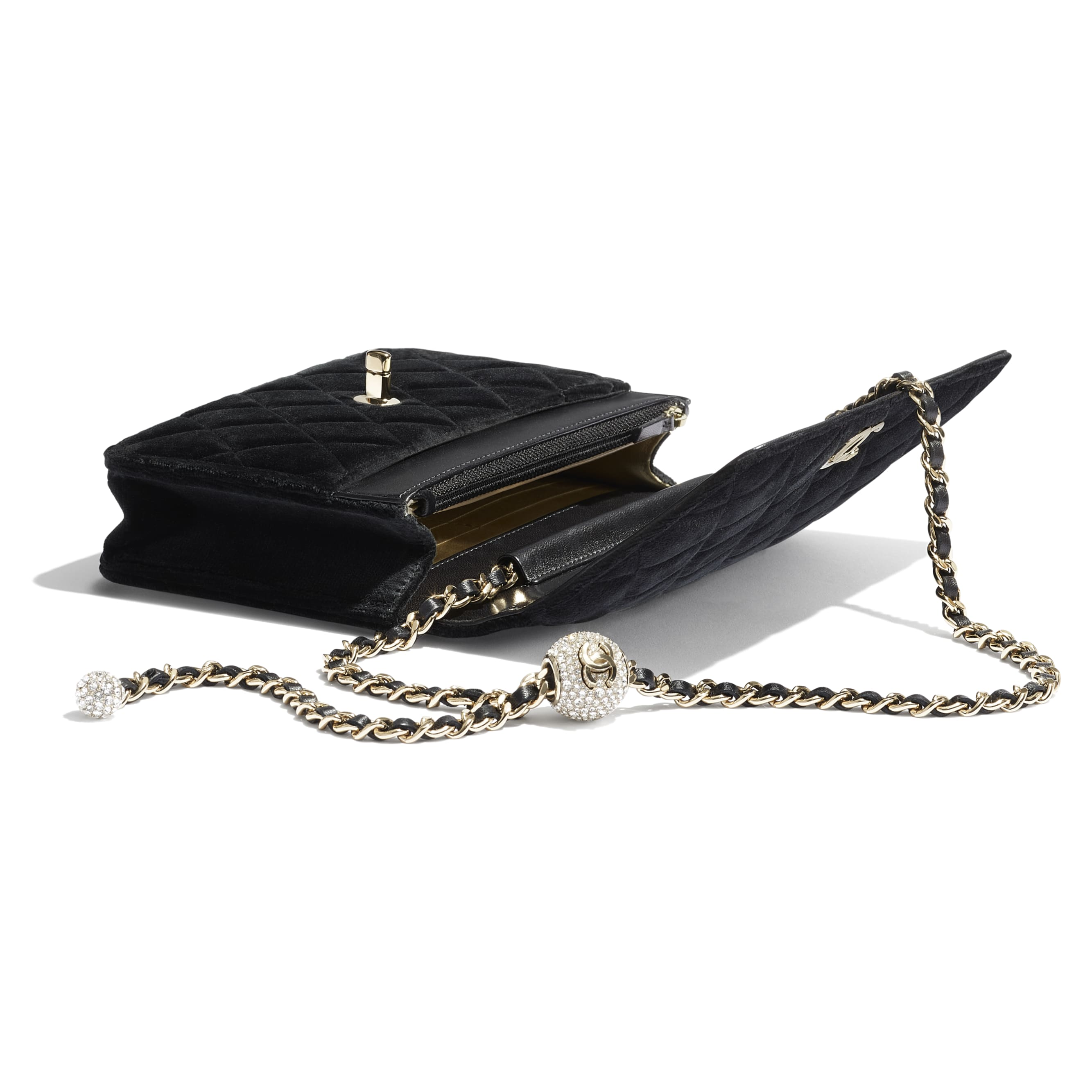 Wallet on Chain - Black - Velvet, Strass & Gold-Tone Metal - CHANEL - Other view - see standard sized version