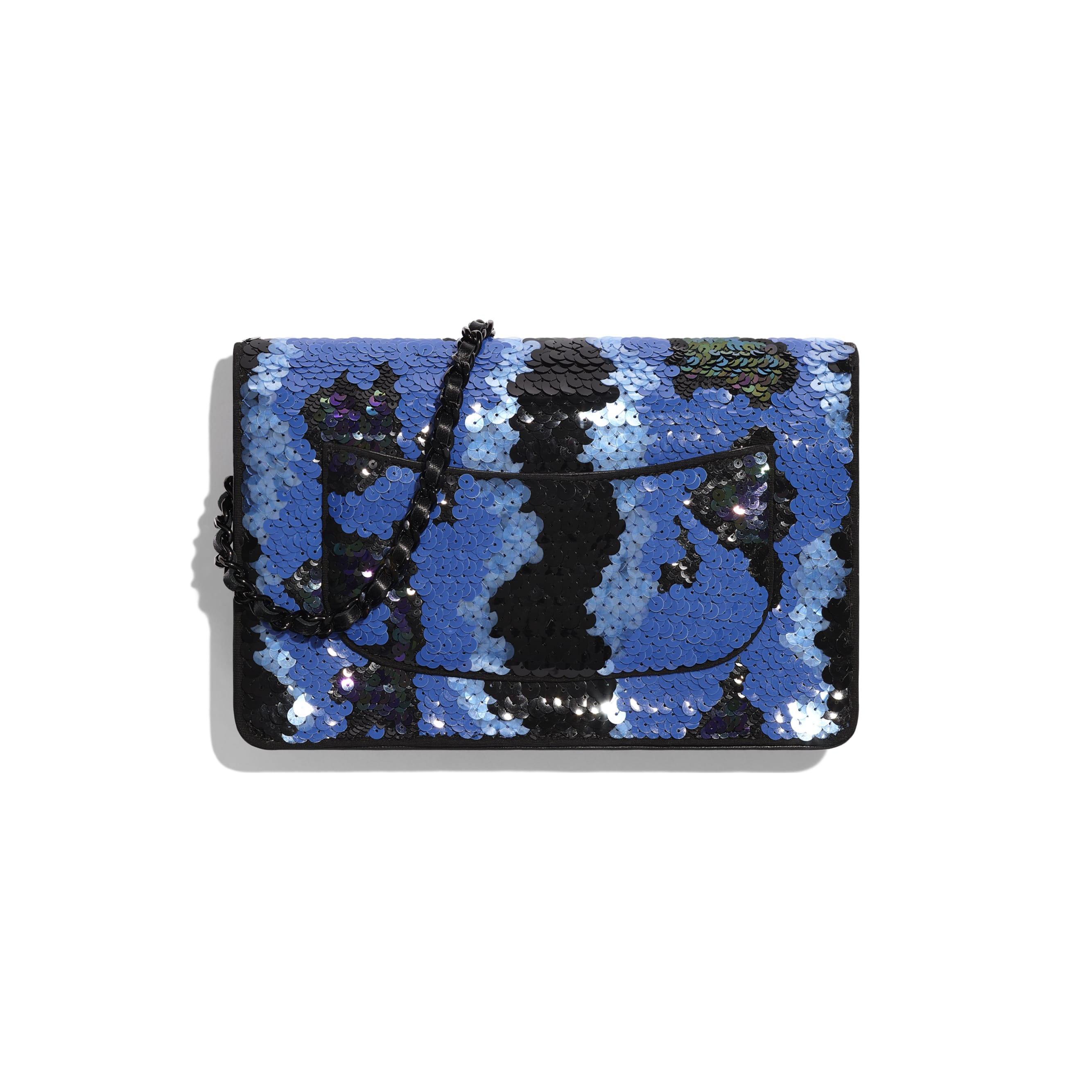 Wallet on Chain - Blue & Black - Sequins & Black Metal - Alternative view - see standard sized version