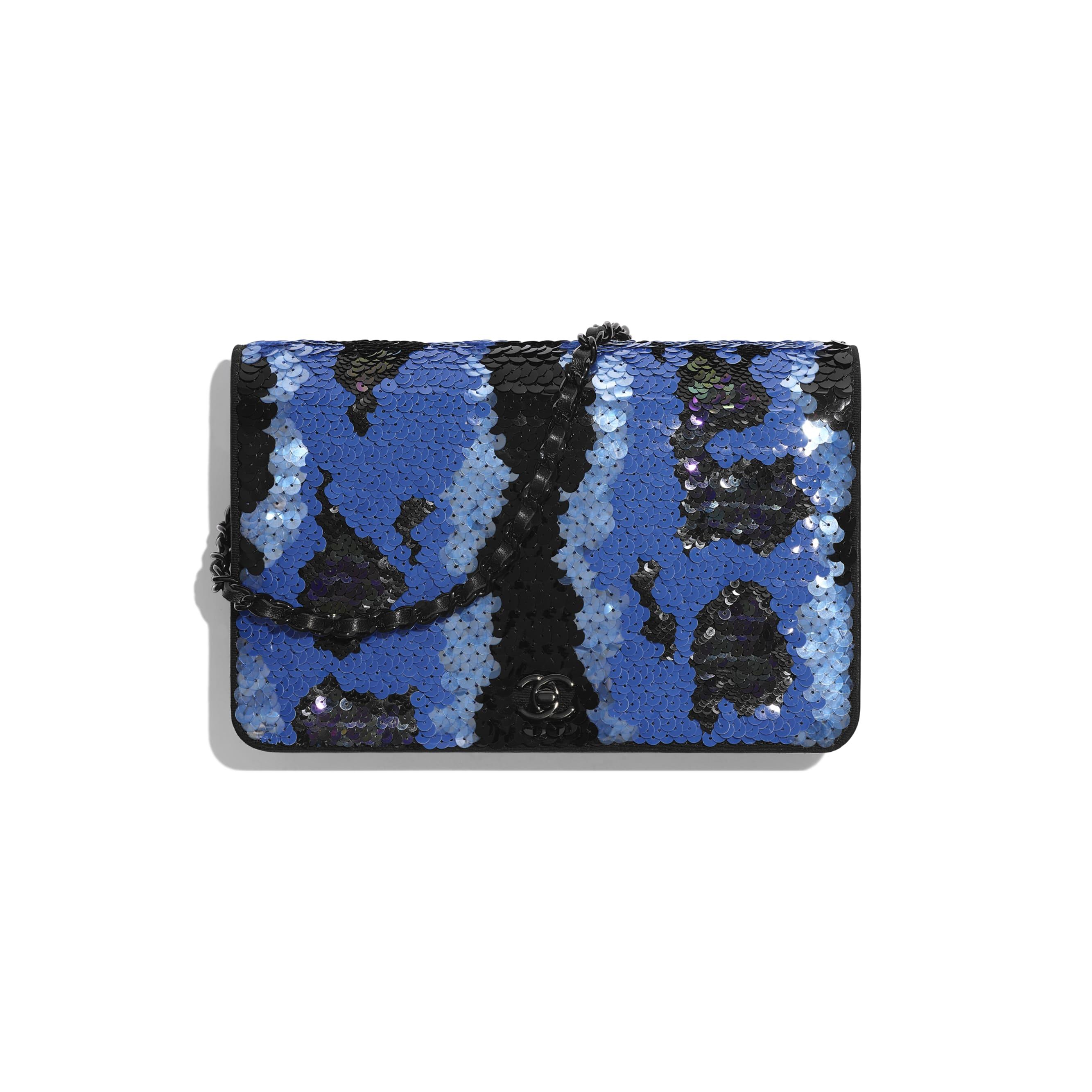 Wallet on Chain - Blue & Black - Sequins & Black Metal - Default view - see standard sized version
