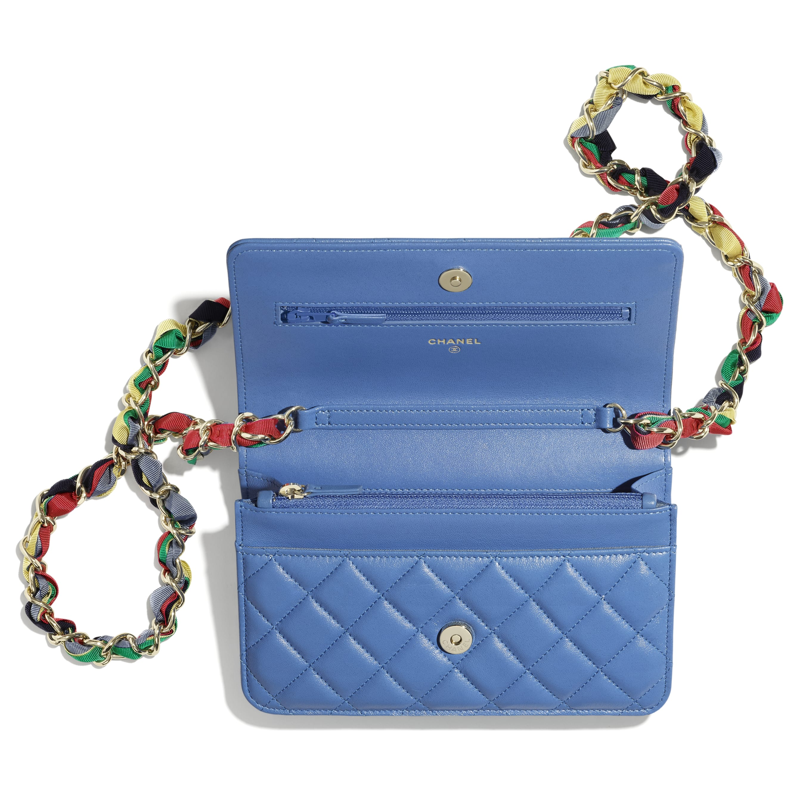 Wallet On Chain - Blue - Shiny Lambskin, Ribbon & Gold-Tone Metal - CHANEL - Alternative view - see standard sized version
