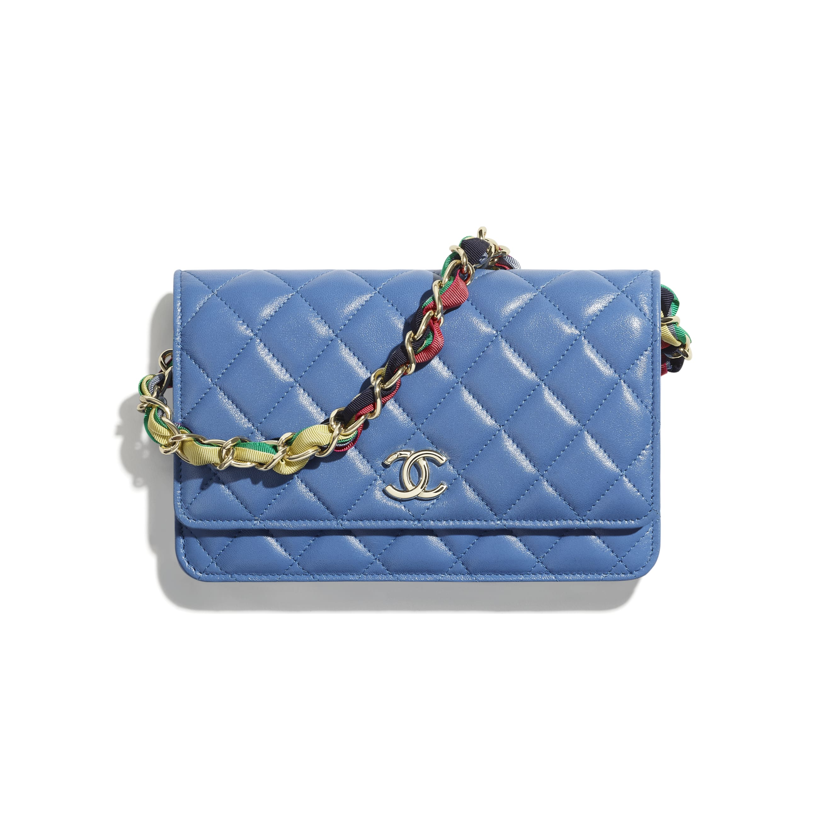 Wallet On Chain - Blue - Shiny Lambskin, Ribbon & Gold-Tone Metal - CHANEL - Default view - see standard sized version