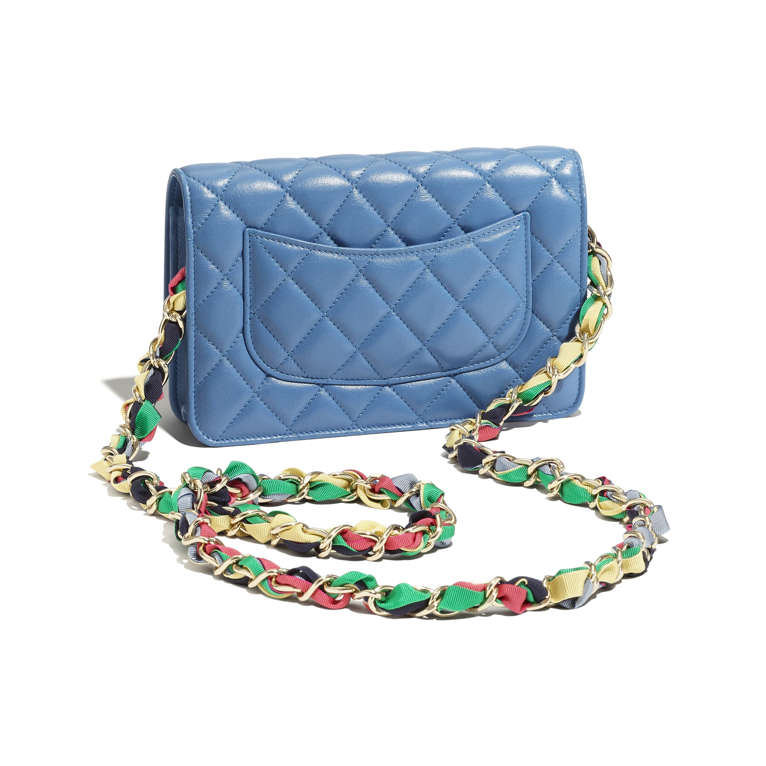 Wallet On Chain - Blue - Shiny Lambskin, Ribbon & Gold-Tone Metal - CHANEL - Extra view - see standard sized version