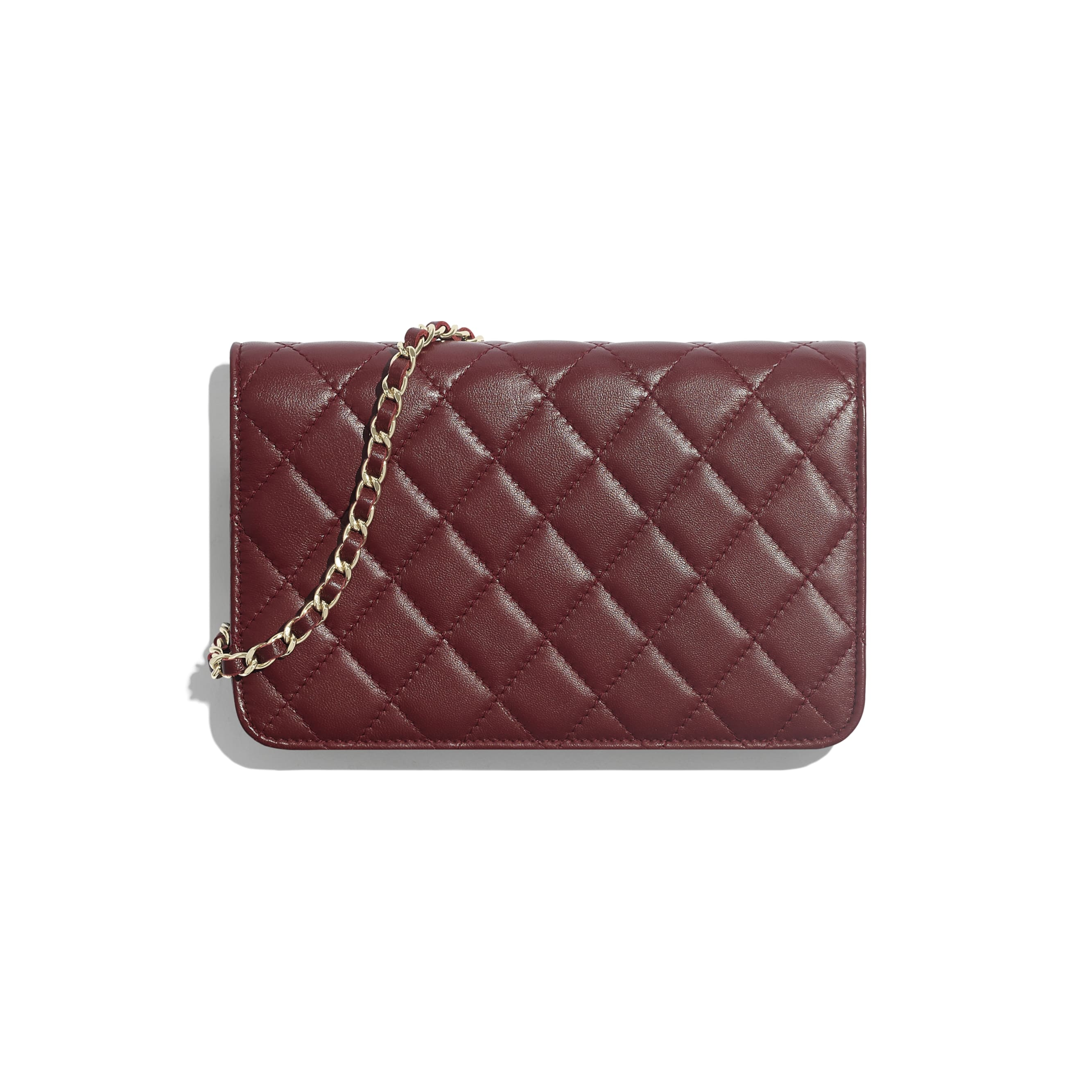 Wallet on Chain - Burgundy - Lambskin & Gold Metal - Alternative view - see standard sized version