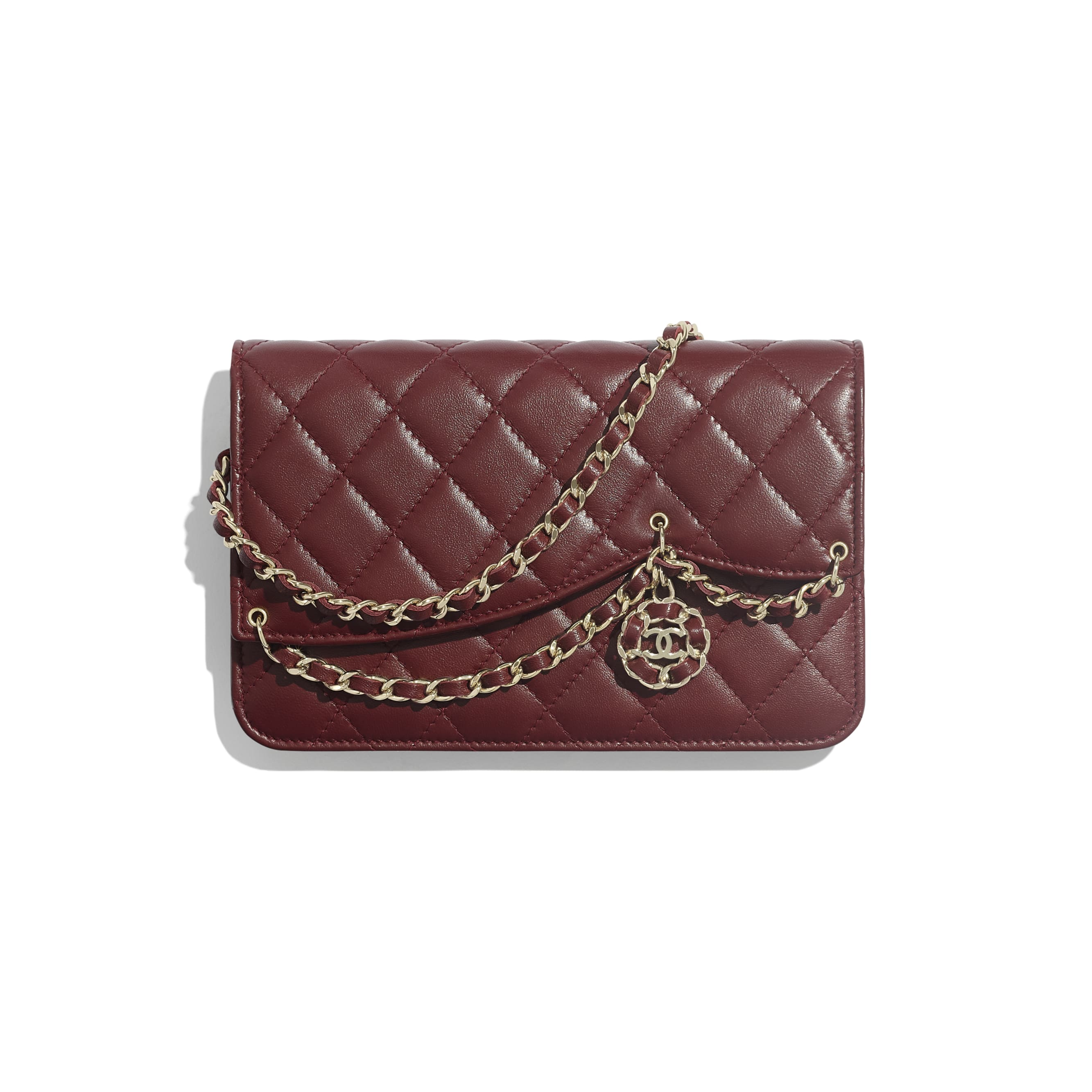 Wallet on Chain - Burgundy - Lambskin & Gold Metal - Default view - see standard sized version