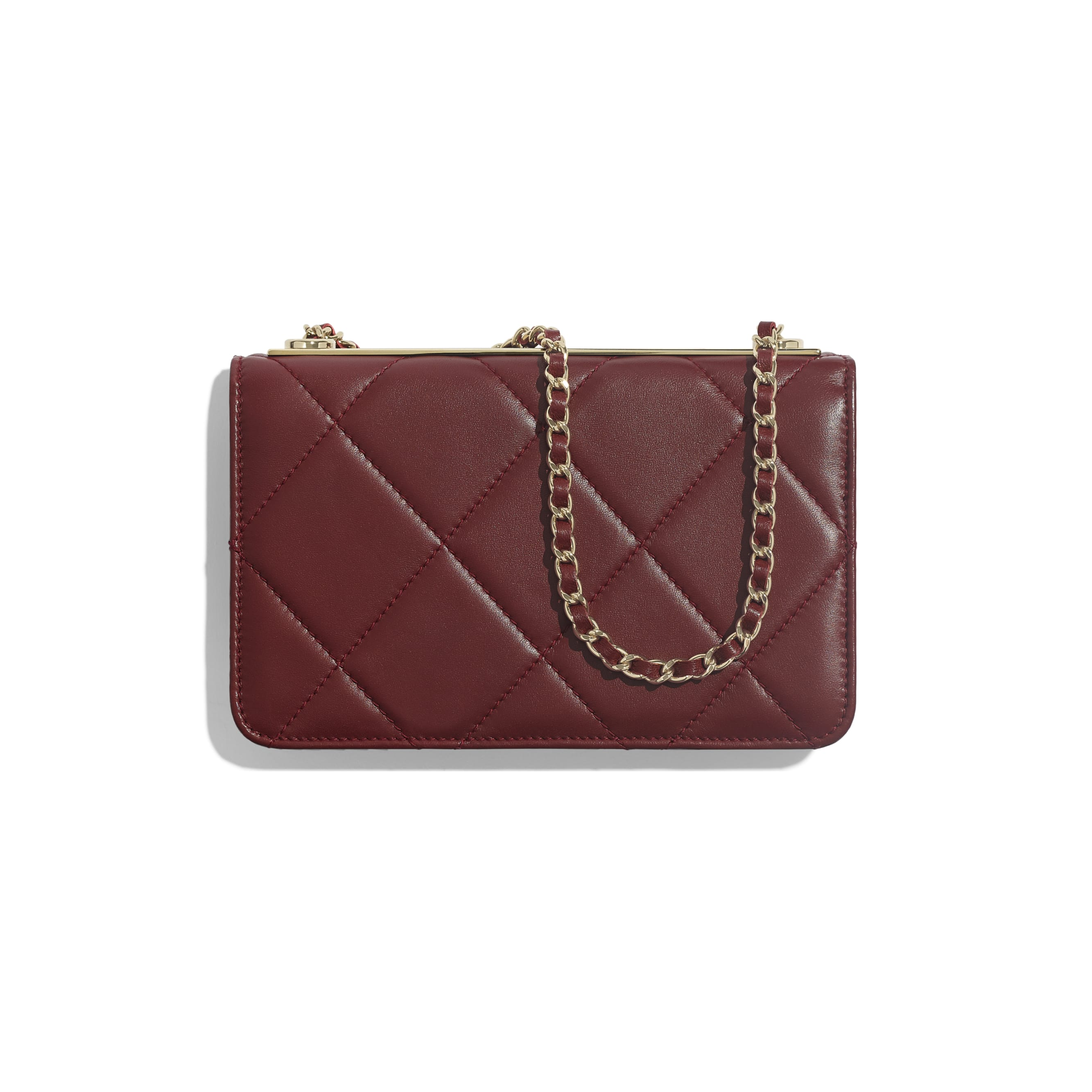 Wallet on Chain - Burgundy - Lambskin & Gold-Tone Metal - Alternative view - see standard sized version