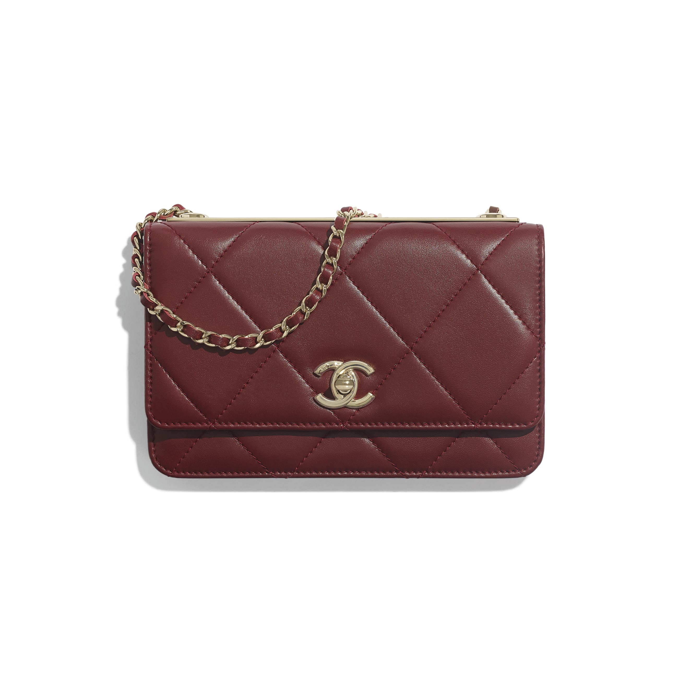 Wallet on Chain - Burgundy - Lambskin & Gold-Tone Metal - Default view - see standard sized version
