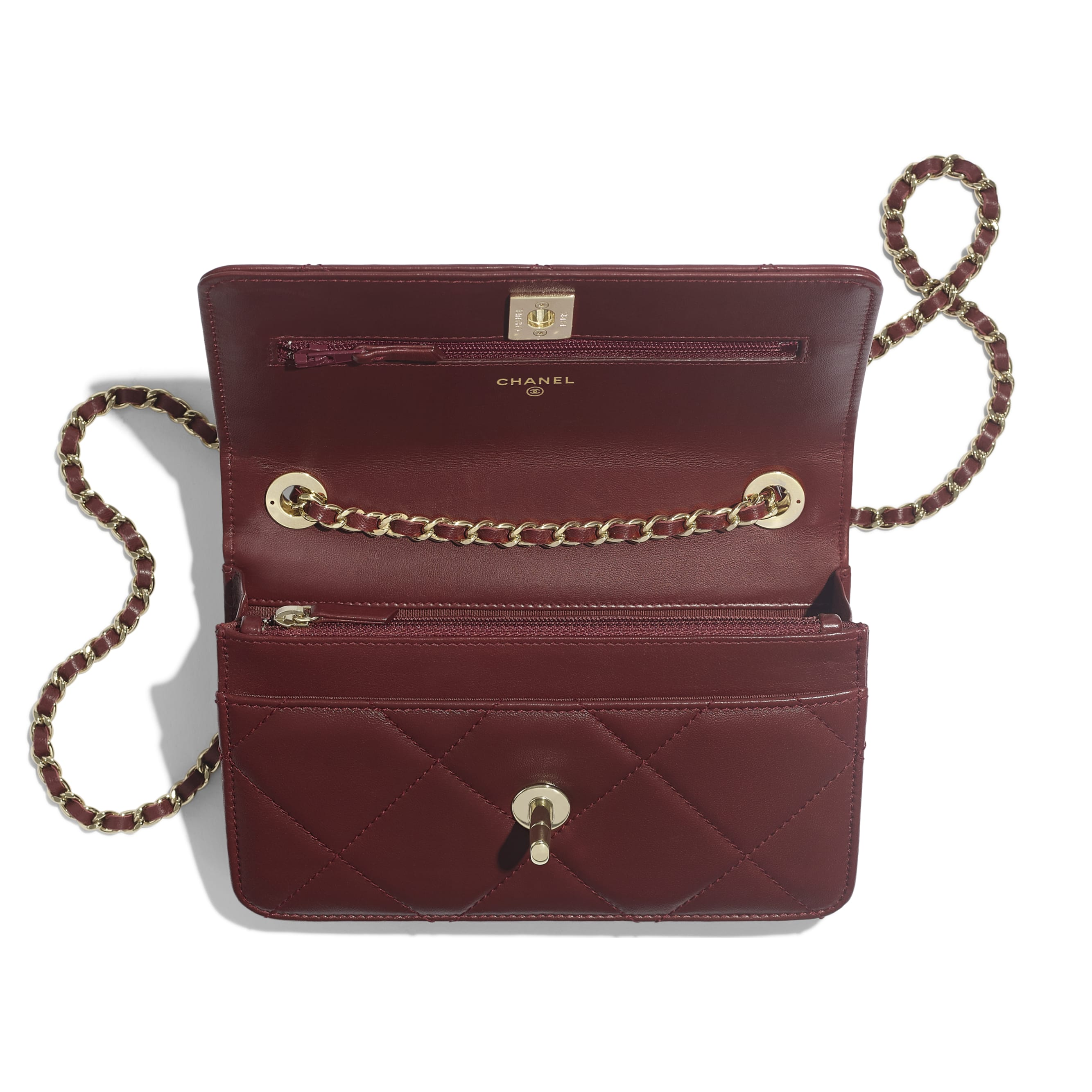 Wallet on Chain - Burgundy - Lambskin & Gold-Tone Metal - Other view - see standard sized version