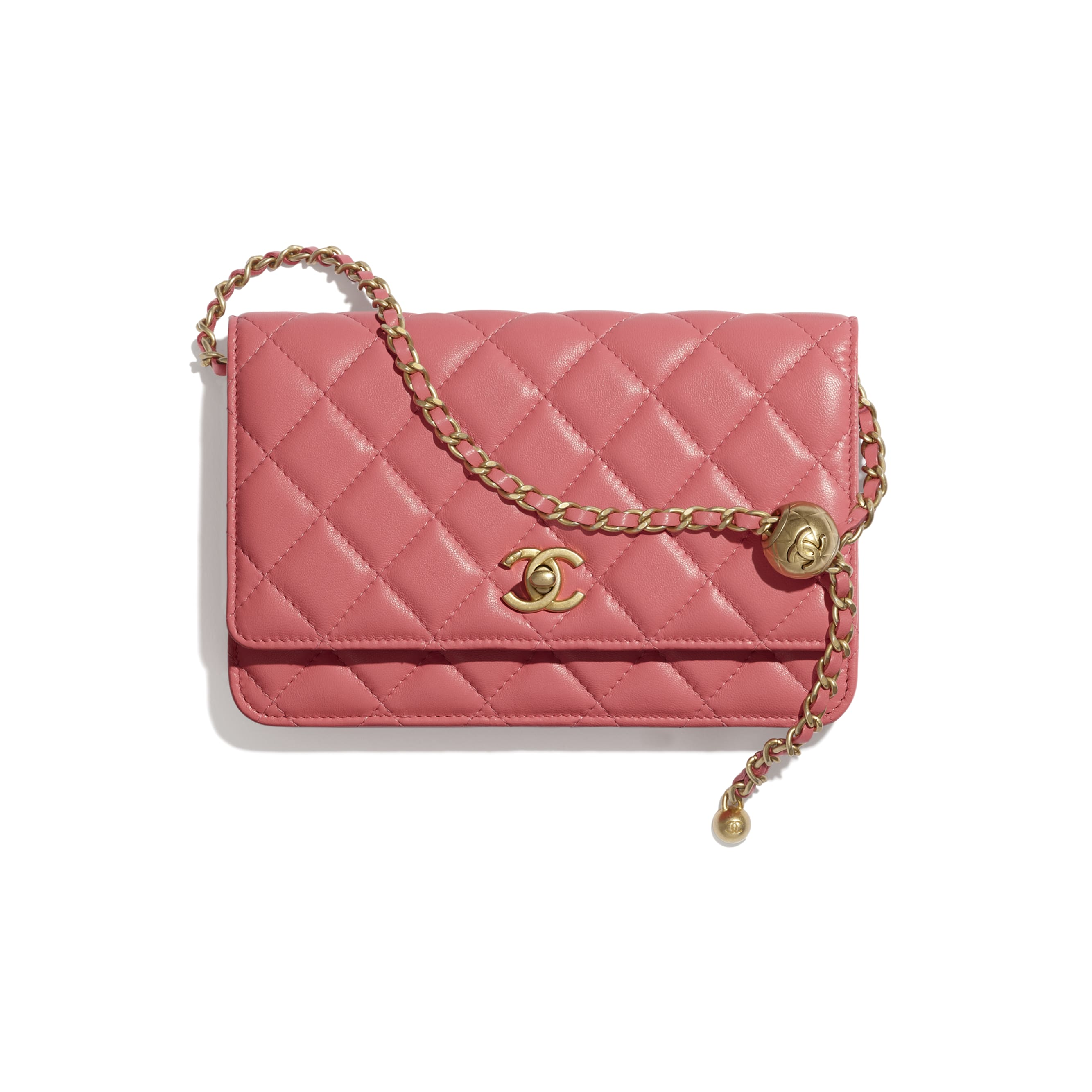 Wallet On Chain - Coral - Lambskin - CHANEL - Default view - see standard sized version
