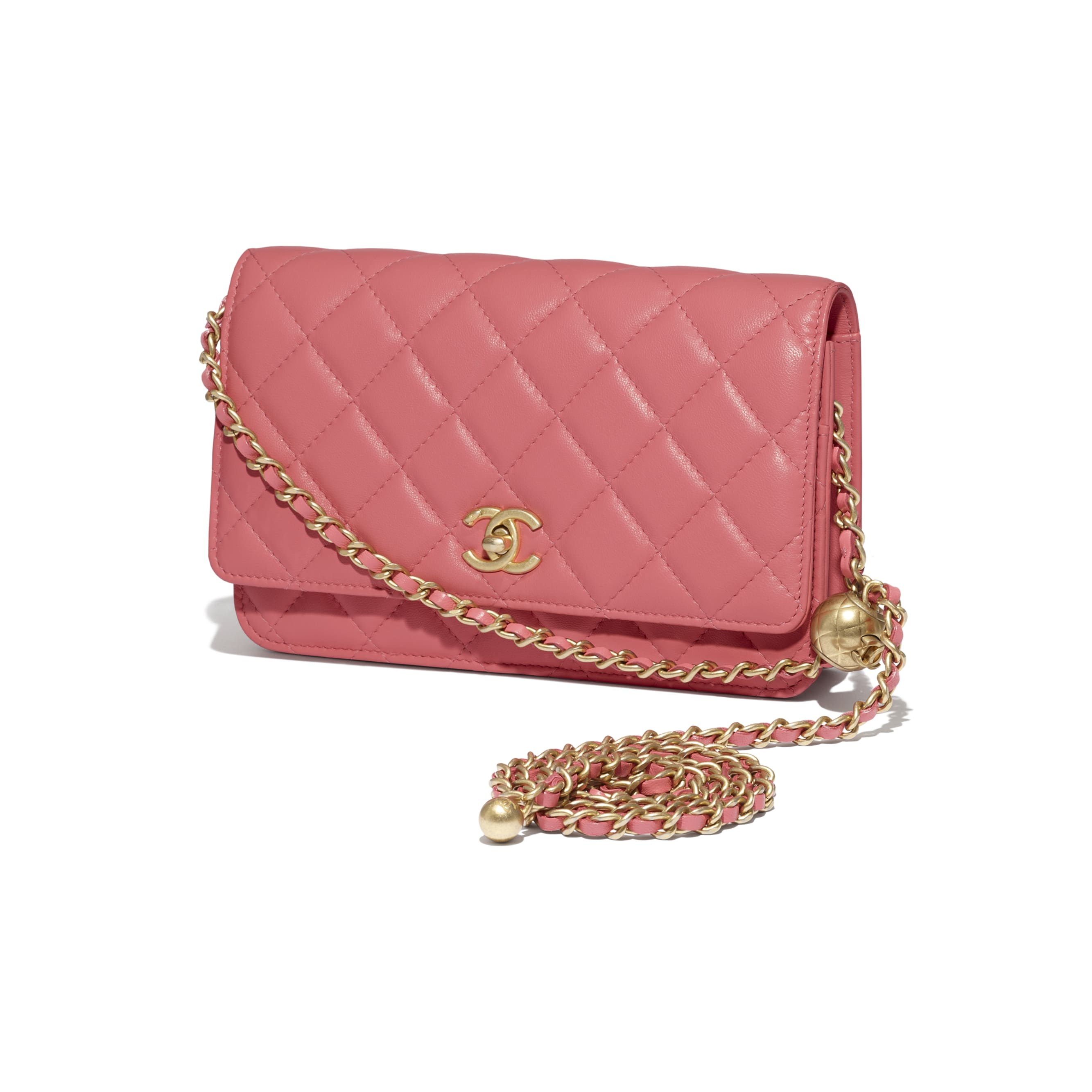 Wallet On Chain - Coral - Lambskin - CHANEL - Extra view - see standard sized version