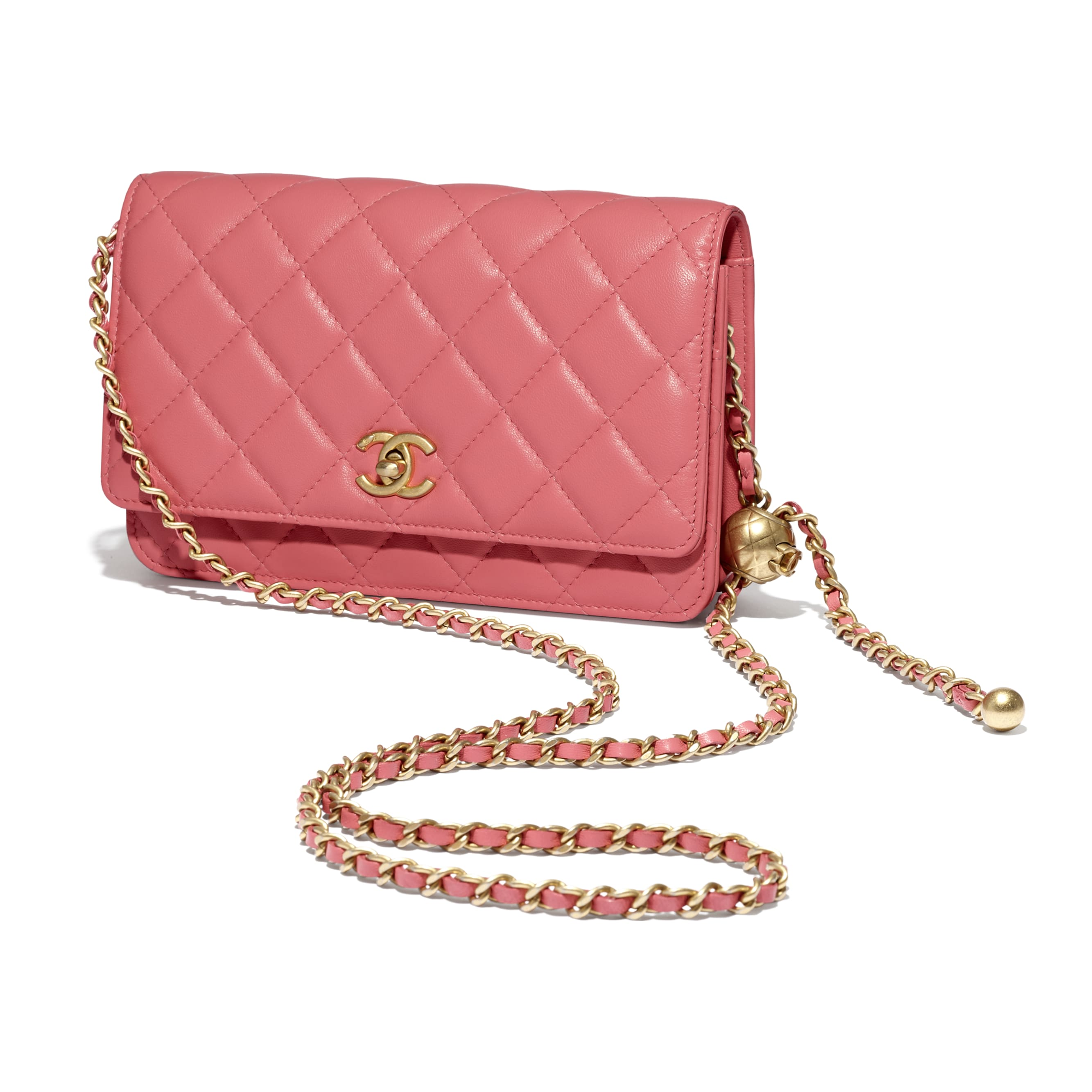 Wallet On Chain - Coral - Lambskin - CHANEL - Other view - see standard sized version