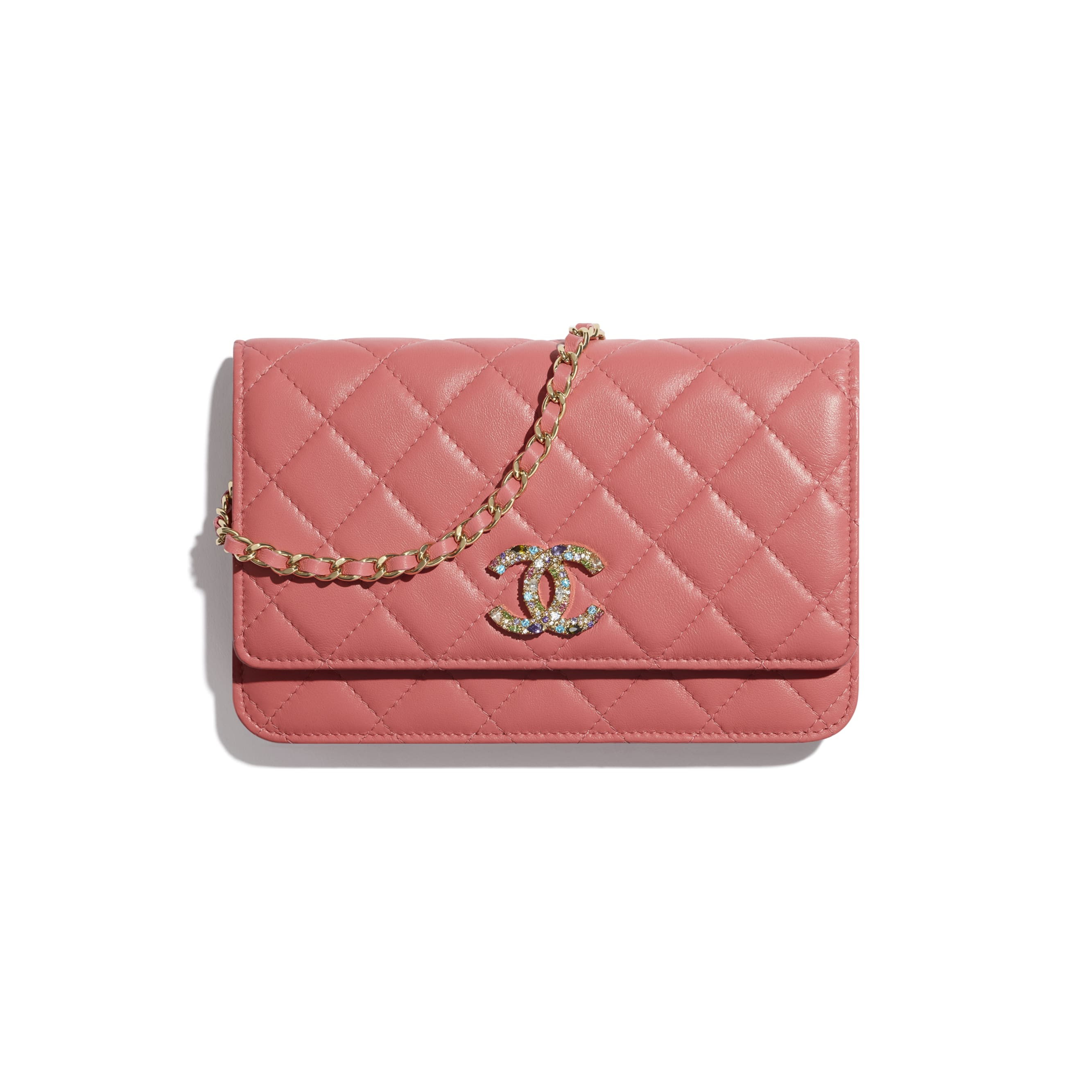 Wallet On Chain - Coral - Lambskin, Zirconium & Gold-Tone Metal - CHANEL - Default view - see standard sized version