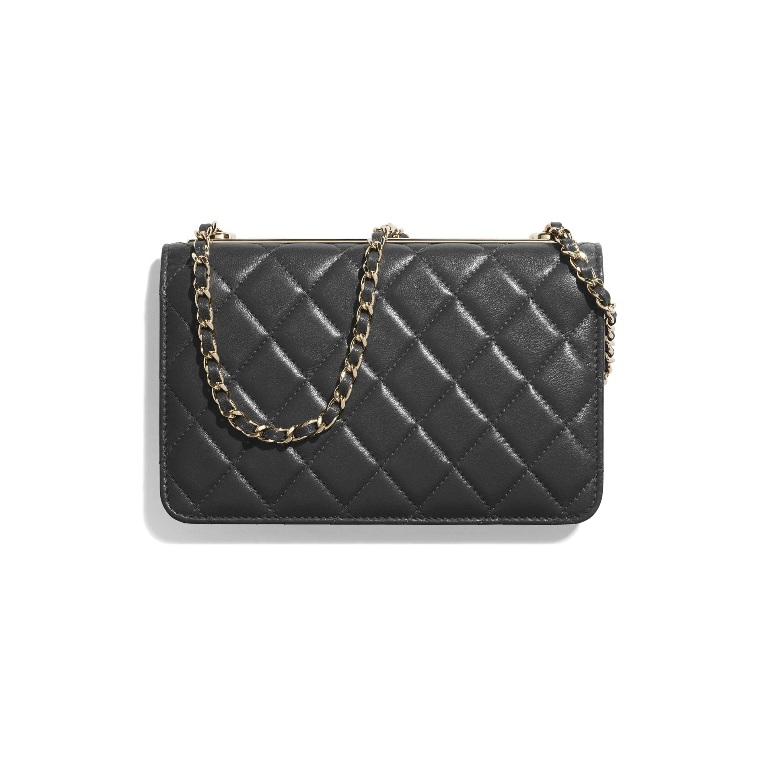 Wallet On Chain - Dark Grey - Lambskin - CHANEL - Alternative view - see standard sized version