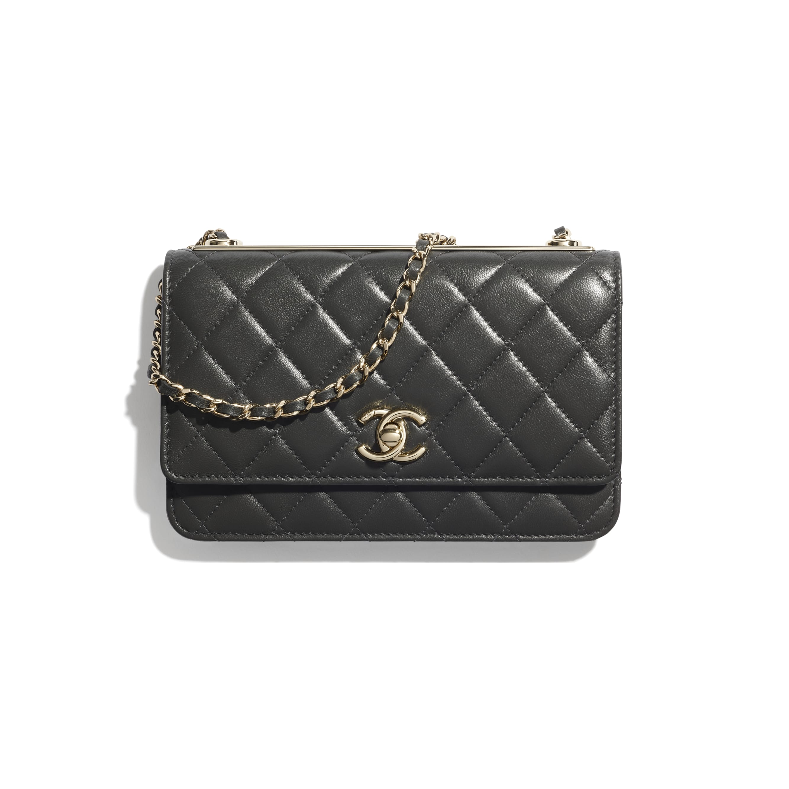 Wallet On Chain - Dark Grey - Lambskin - CHANEL - Default view - see standard sized version
