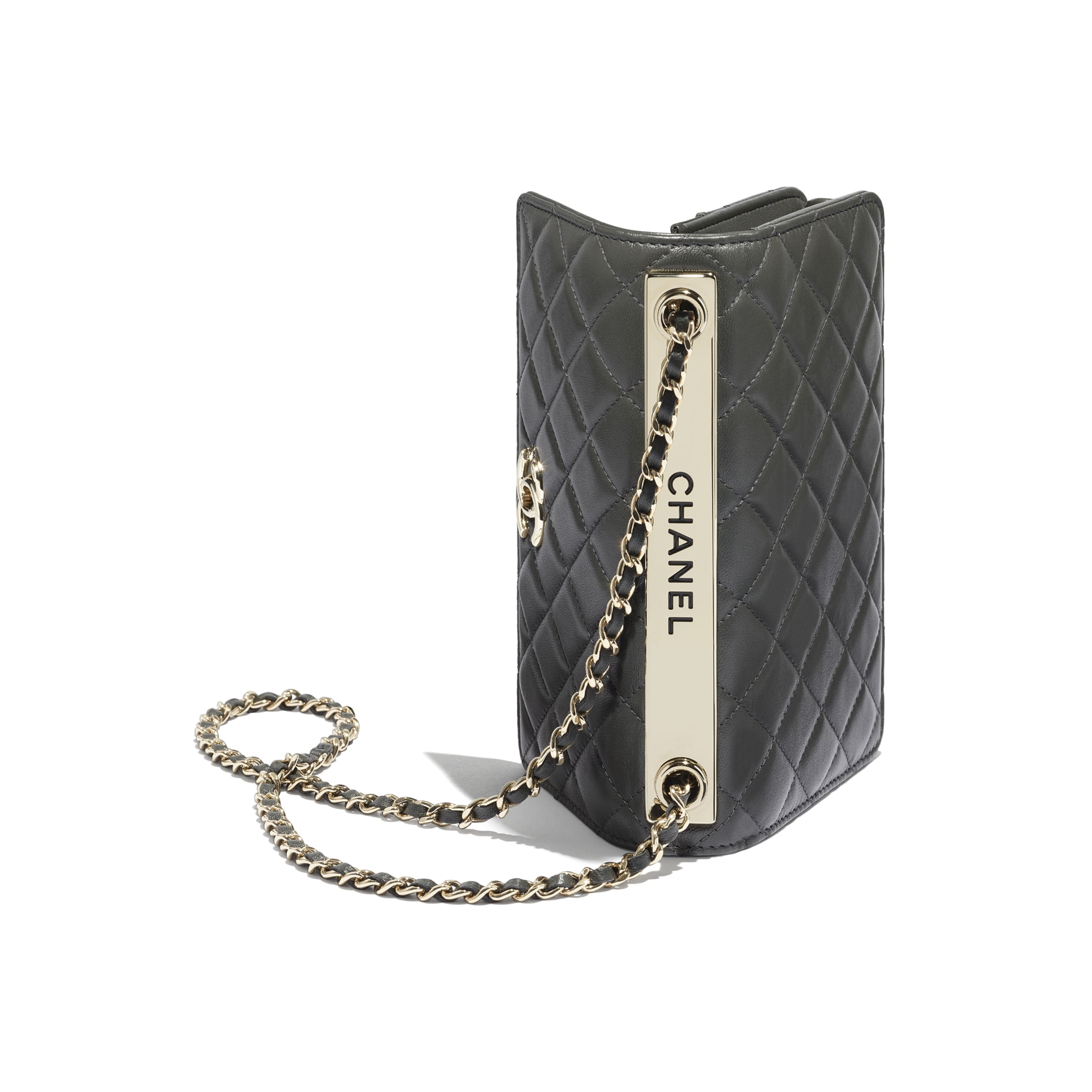 Wallet On Chain - Dark Grey - Lambskin - CHANEL - Extra view - see standard sized version