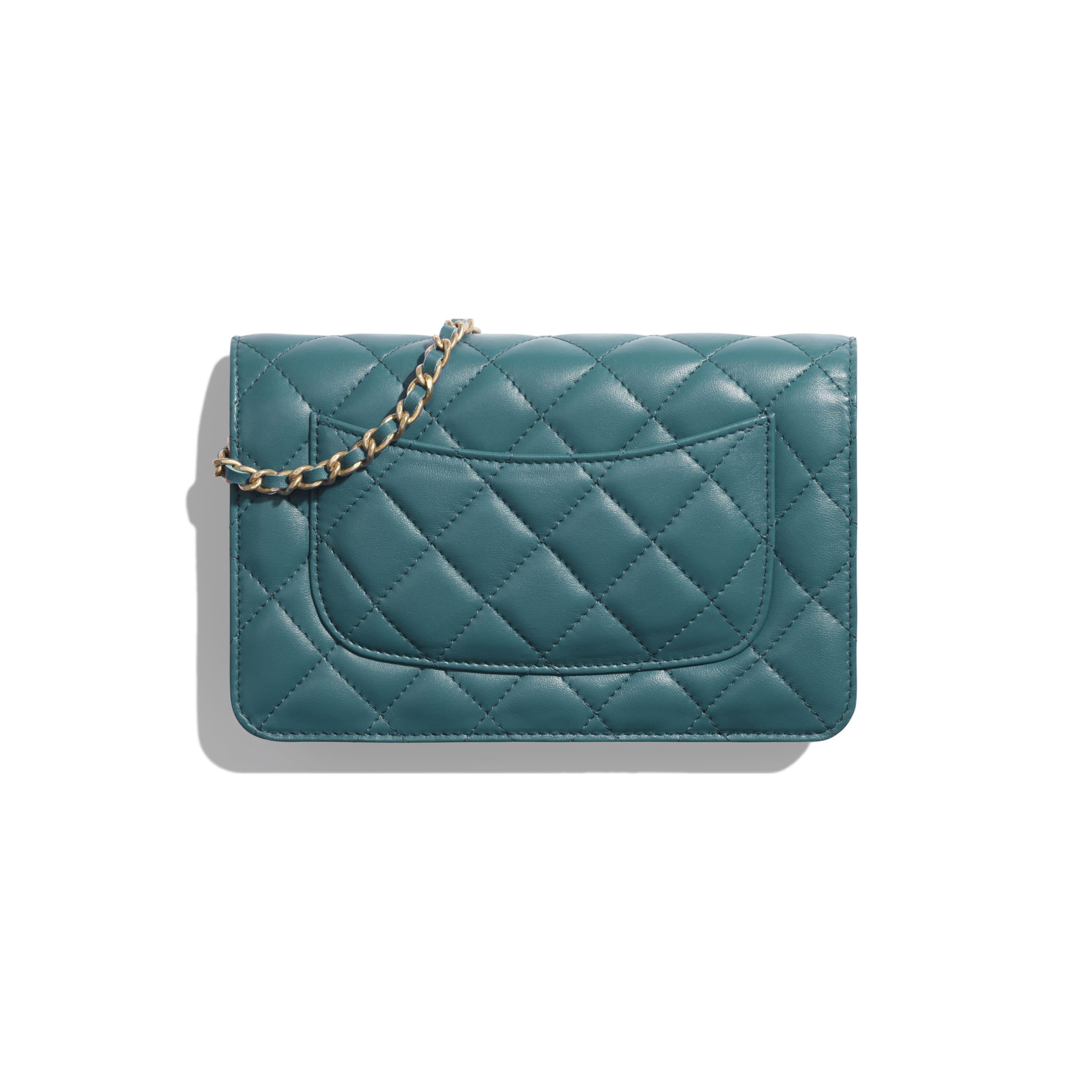 Wallet on Chain - Dark Turquoise - Lambskin & Gold-Tone Metal - Alternative view - see standard sized version