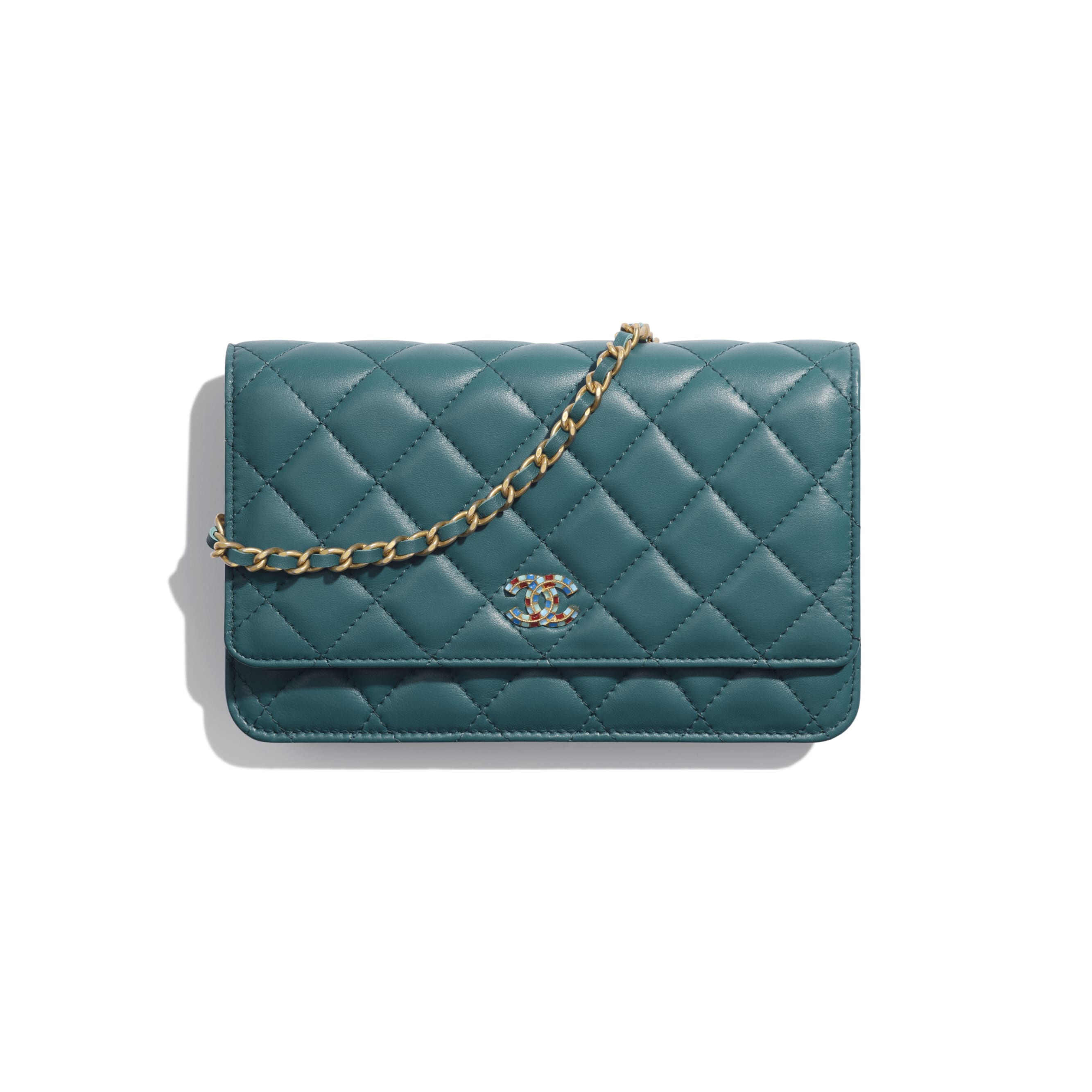 Wallet on Chain - Dark Turquoise - Lambskin & Gold-Tone Metal - Default view - see standard sized version