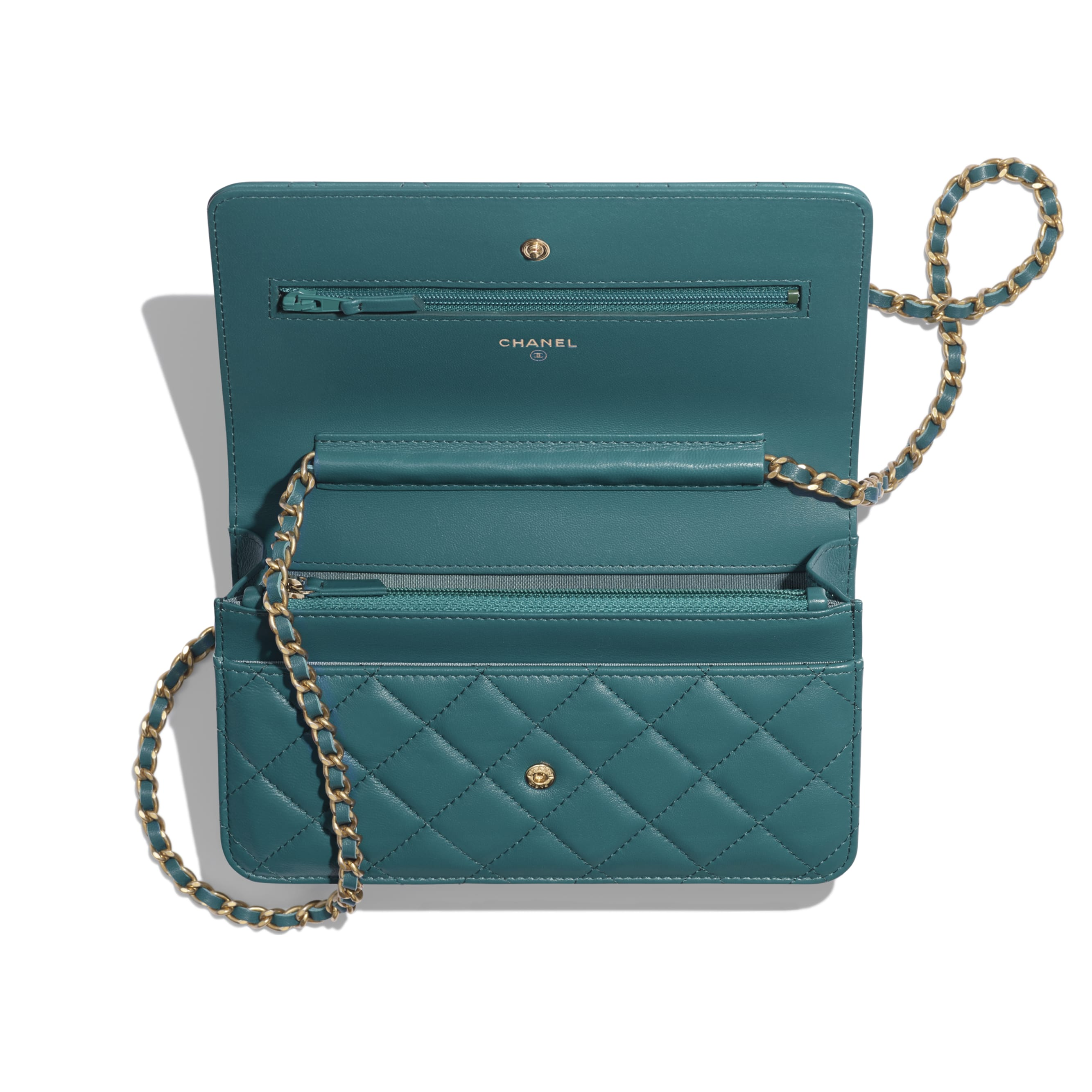 Wallet on Chain - Dark Turquoise - Lambskin & Gold-Tone Metal - Other view - see standard sized version