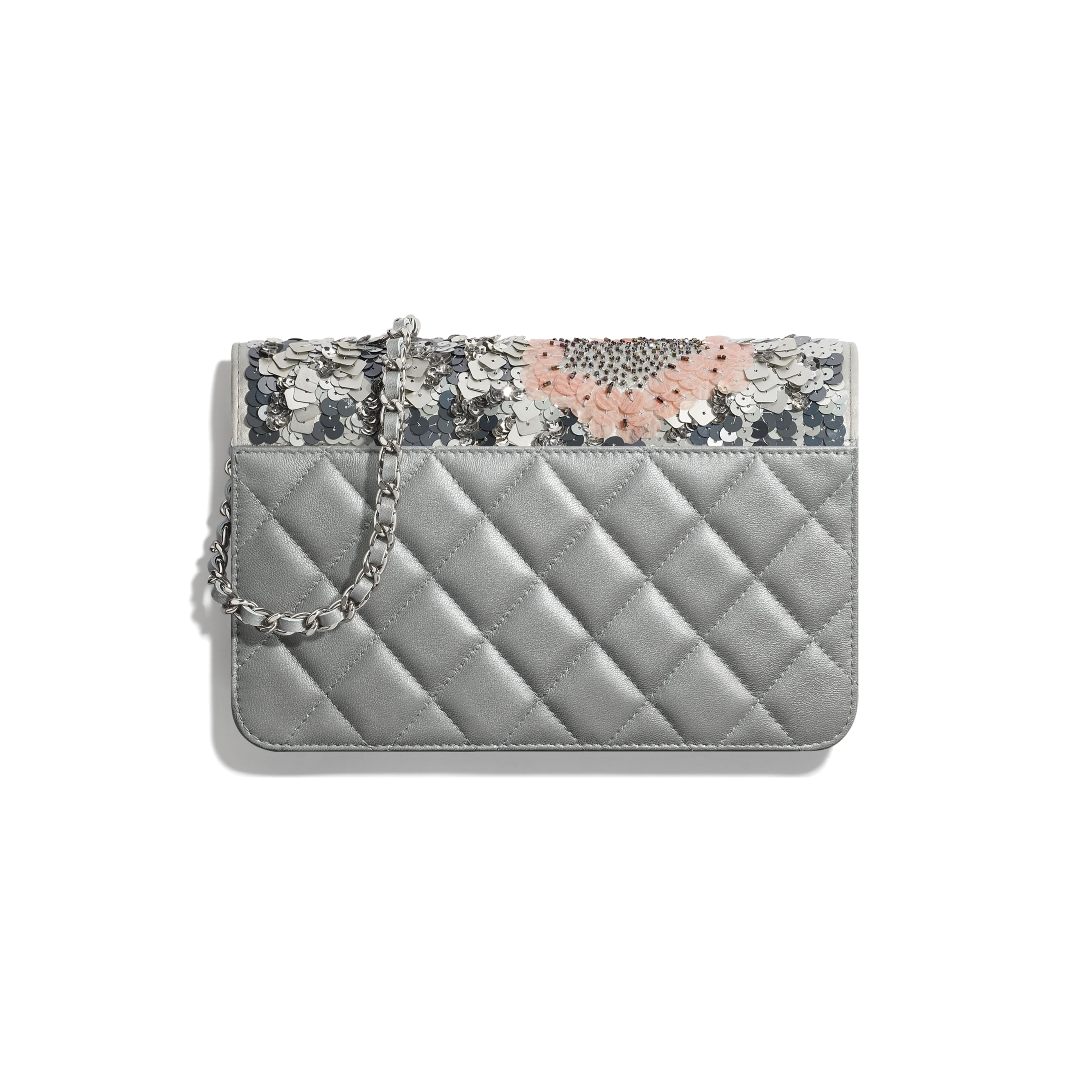 Wallet On Chain - Gray, Silver & Pink - Sequins, Glass Pearls & Silver-Tone Metal - CHANEL - Alternative view - see standard sized version