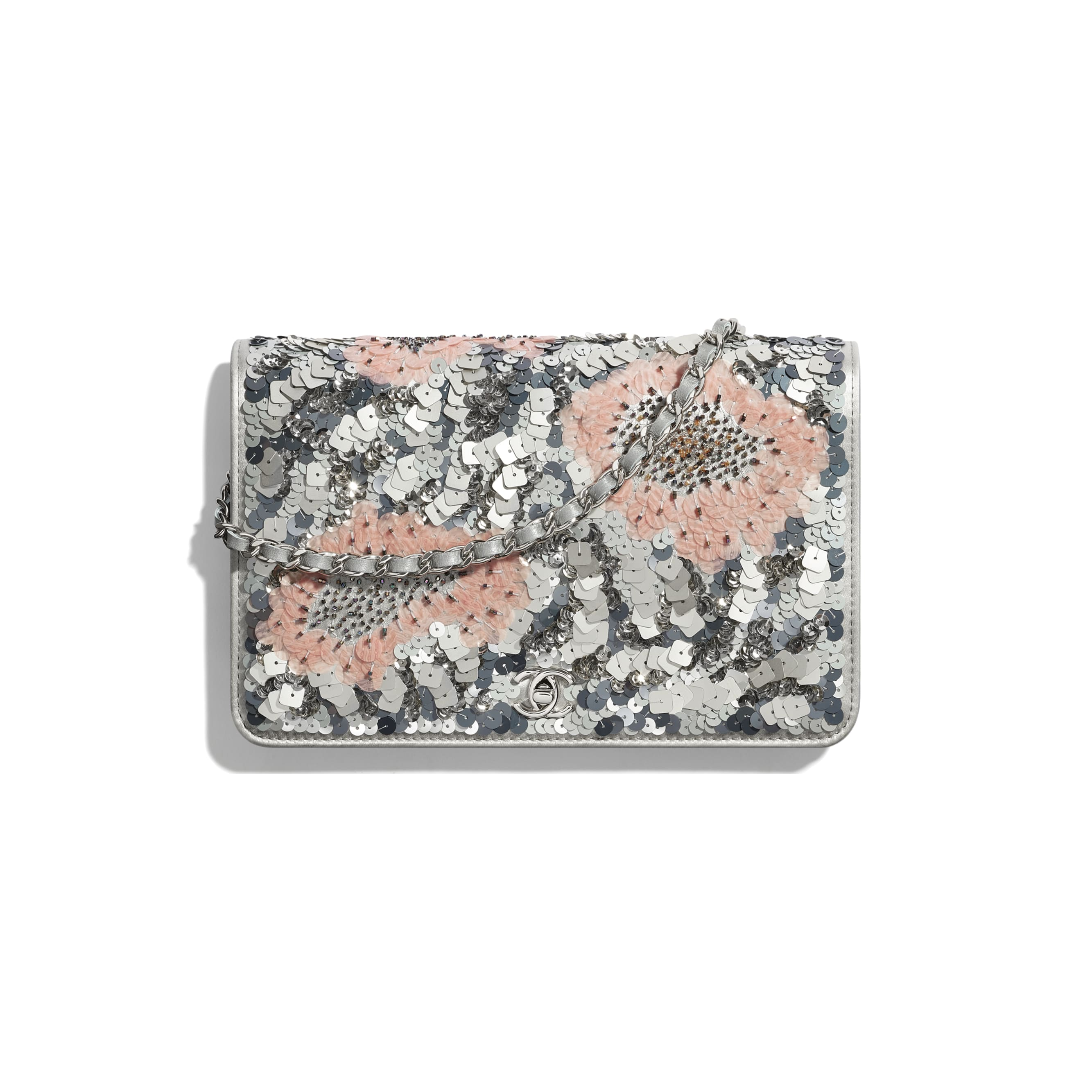 Wallet On Chain - Gray, Silver & Pink - Sequins, Glass Pearls & Silver-Tone Metal - CHANEL - Default view - see standard sized version